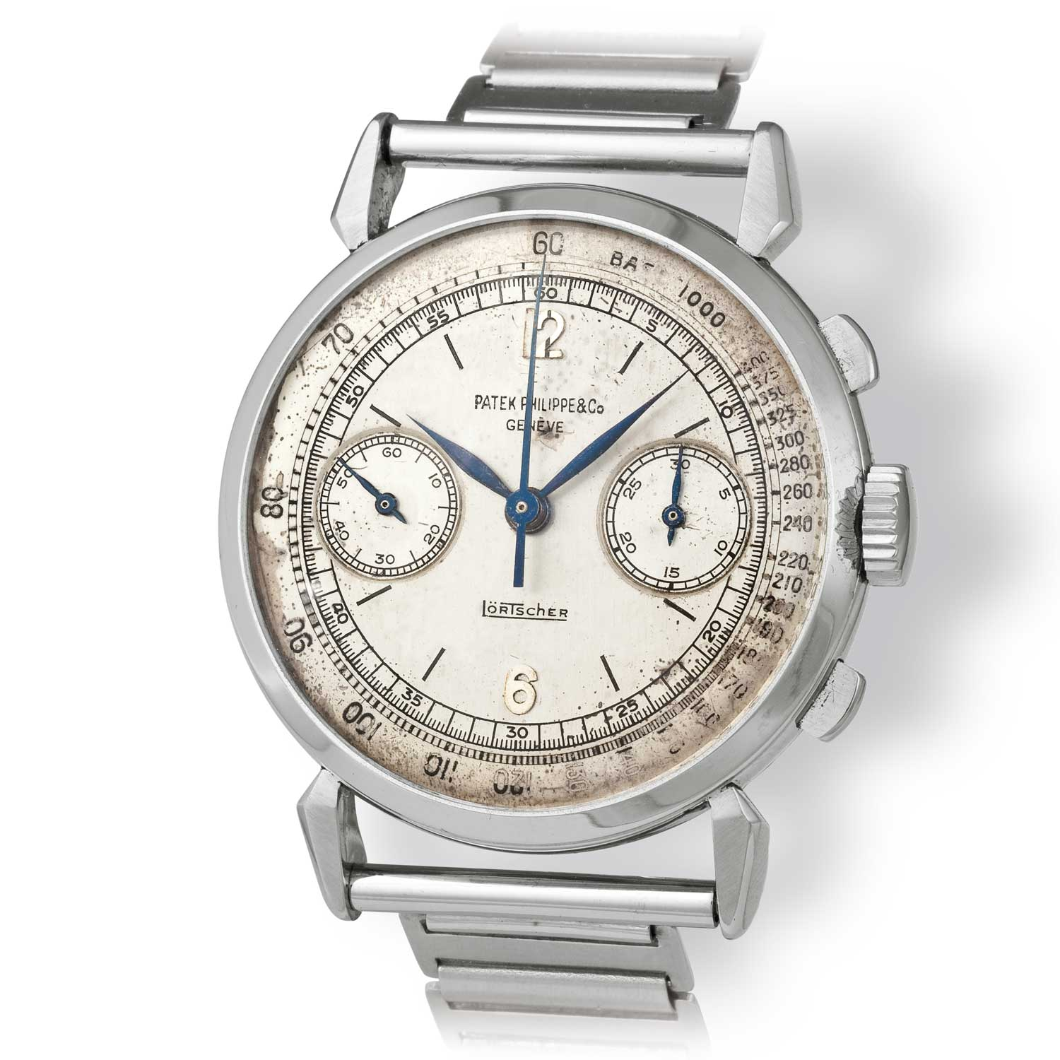 Patek Philippe ref. 1579 steel chronograph with Arabic numerals fitted on a bold Gay Frères bamboo bracelet (Image: John Goldberger)