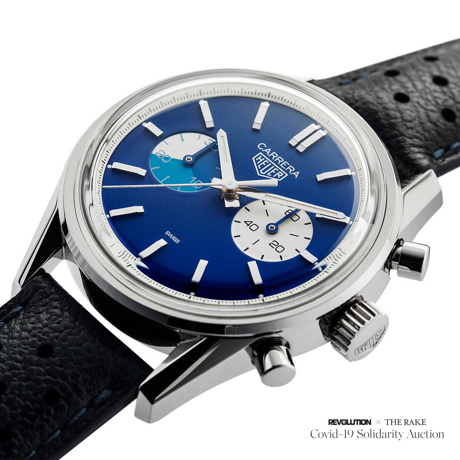 "Prototype of the Carrera Chronograph ""Blue Dreamer"" for Revolution x The Rake Covid-19 Solidarity Auction"