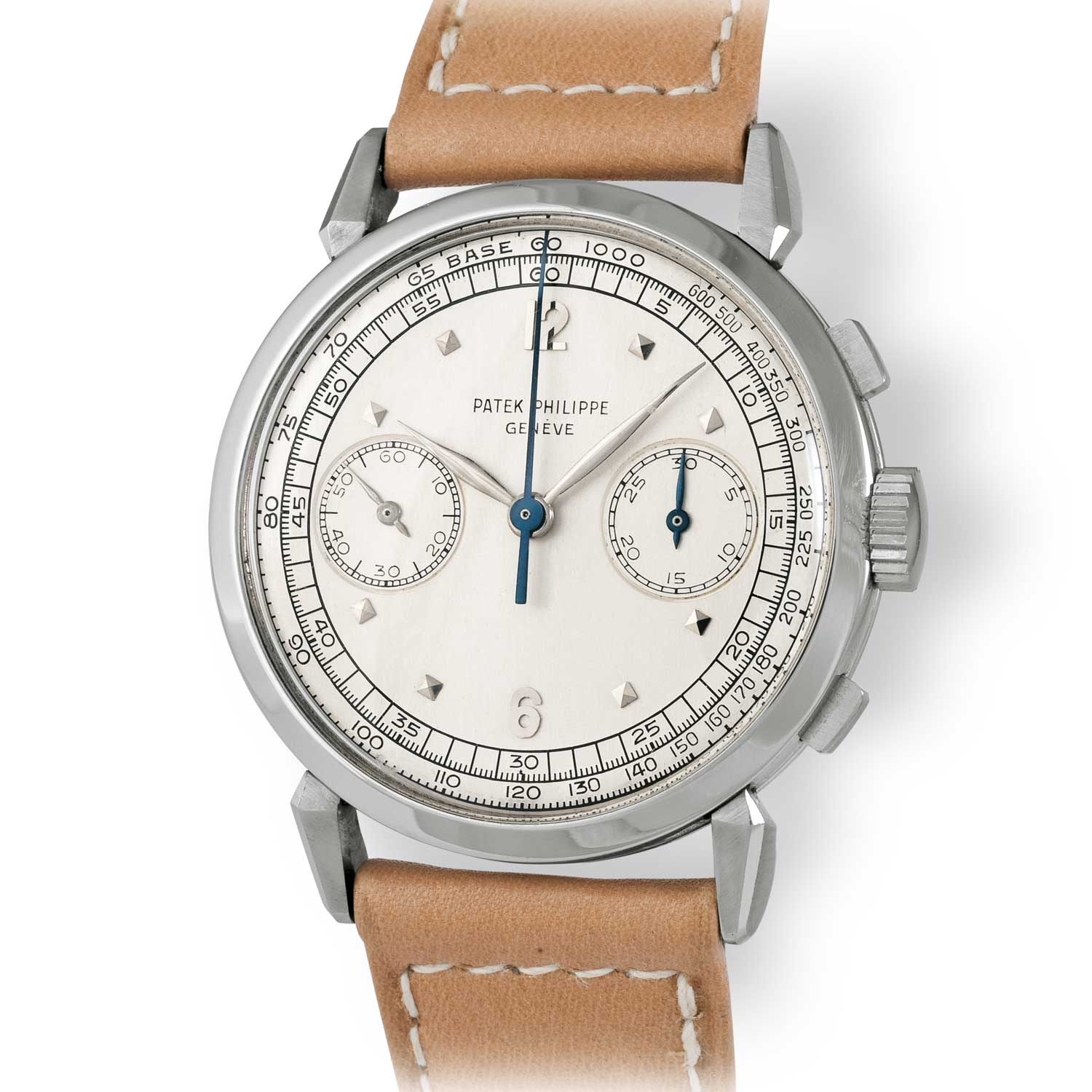 Patek Philippe ref. 1579 steel chronograph with Arabic numerals and square markers (Image: John Goldberger)