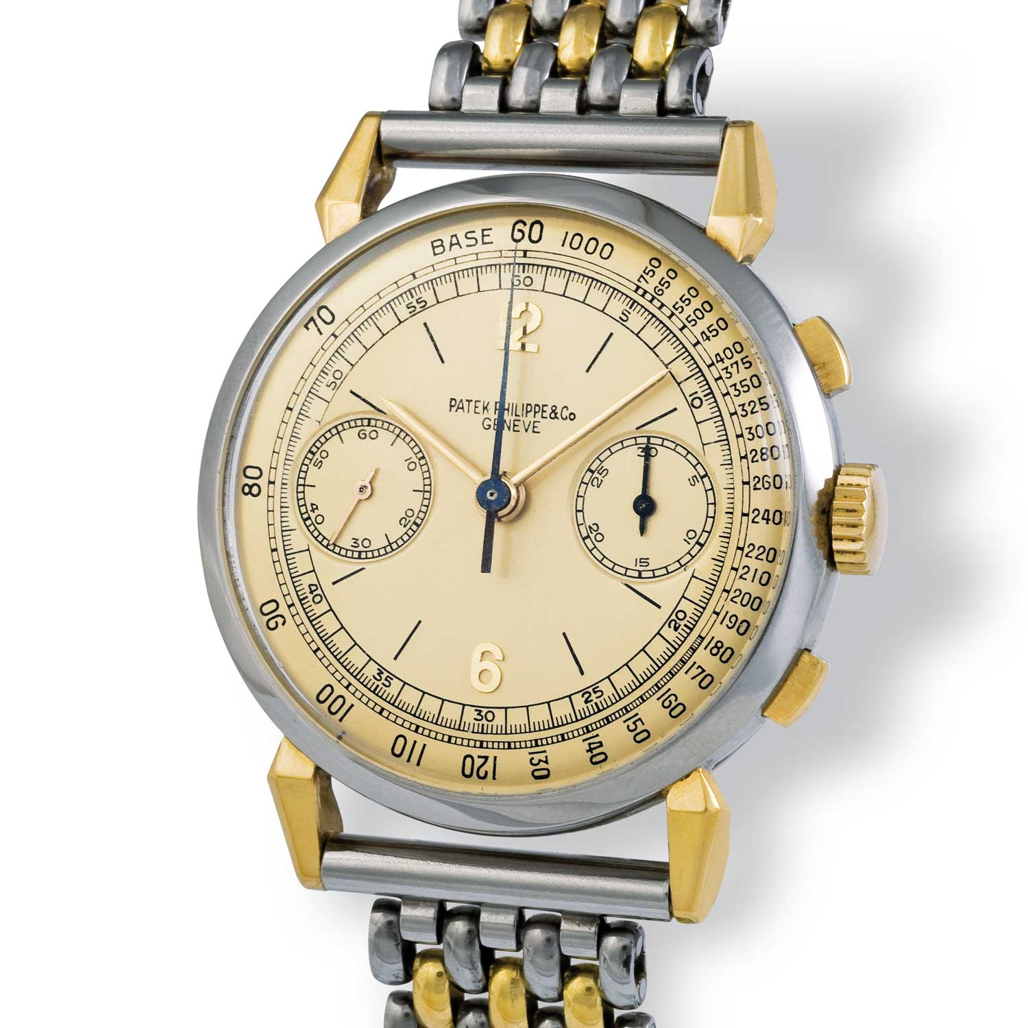 """Patek Philippe ref. 1579 gold and steel chronograph with Arabic numerals fitted on a Gay Frères """"grains of rice"""" bracelet adored on the gold spider lugs of the timepiece (Image: John Goldberger)"""