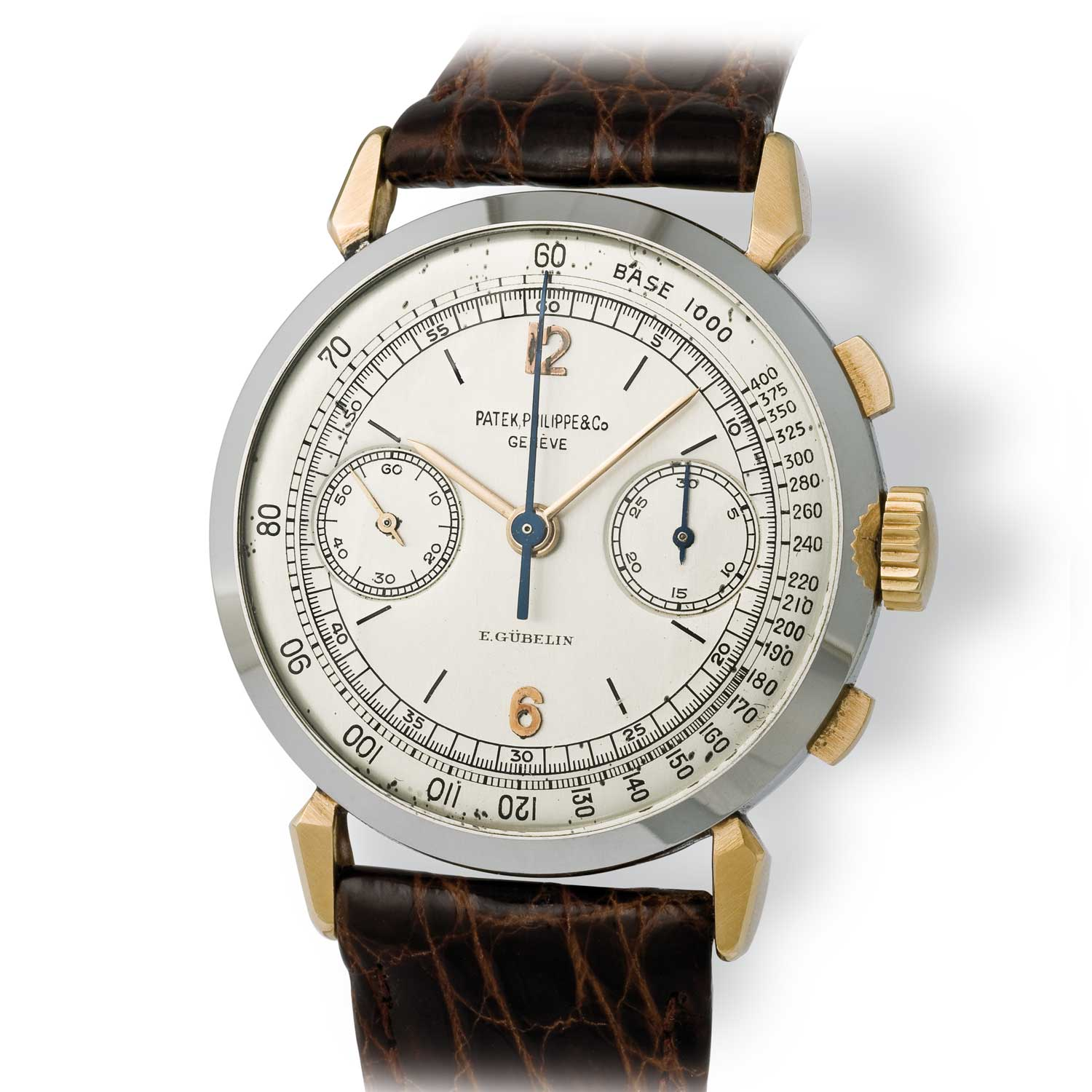 Patek Philippe ref. 1579 gold and steel chronograph with Arabic numerals (Image: John Goldberger)