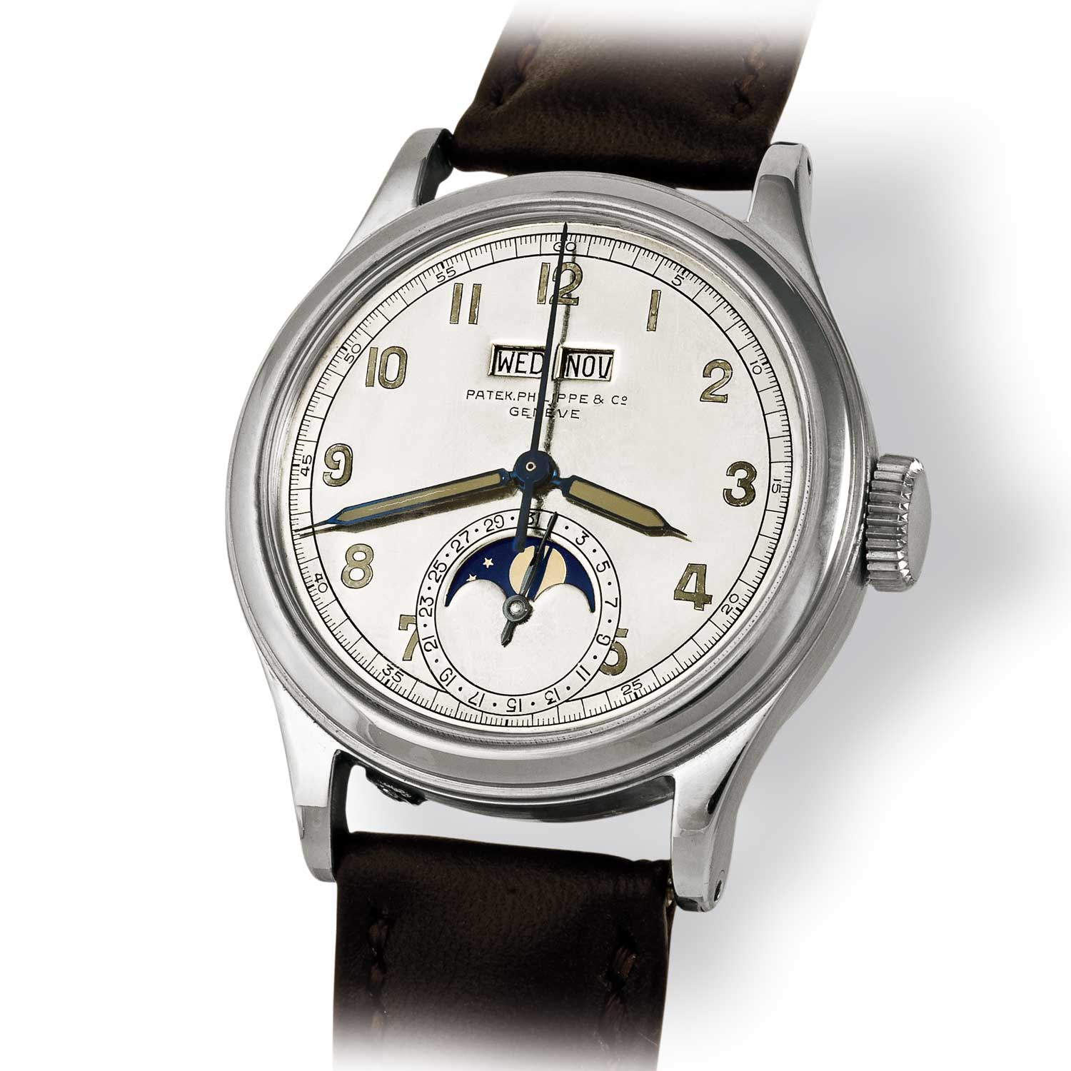 Made by Patek Philippe, a steel pièce unique ref. 1591 water-resistant perpetual calendar with luminous dial and hands made for an Indian maharaja in the 1940s (Image: John Goldberger)