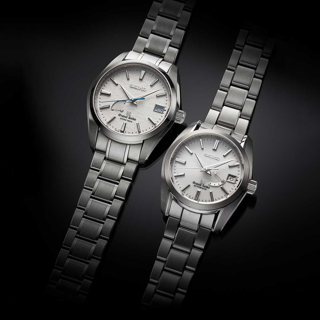 Left: Suwa Seikosha (now Seiko Epson) was the driver of quartz technology. It also perfected the Spring Drive movement in 1999. The photo shows SBGA011, the Spring Drive high-intensity titanium model released in 2005. Right: In 1998, Daini Seikosha (now Seiko Instruments) launched the 9S mechanical movement which immediately became the backbone of the Grand Seiko mechanical collection. The photo shows SBGL001, the first mechanical movement with a three-day power reserve. (Image: Grand Seiko)