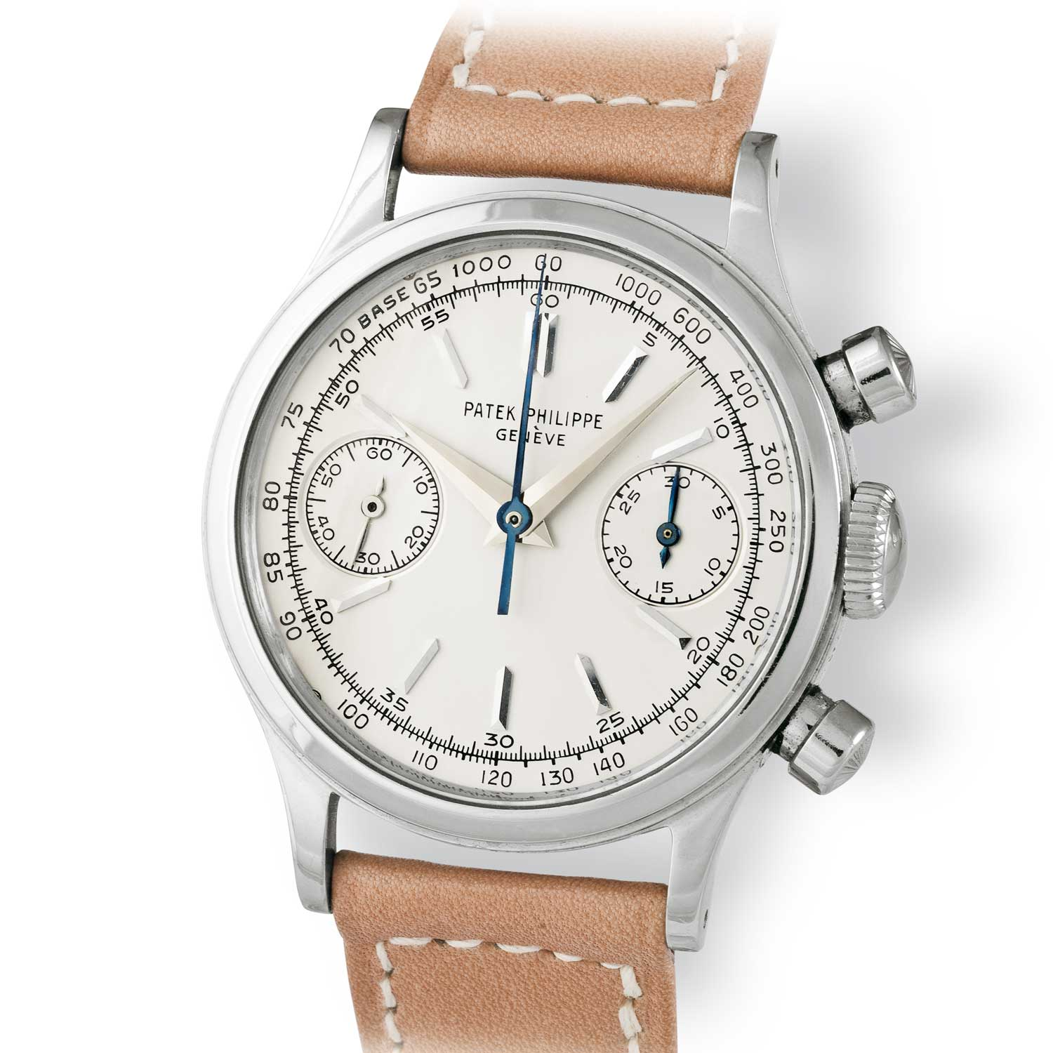 Patek Philippe ref. 1463 steel chronograph with baton markers (Image: John Goldberger)