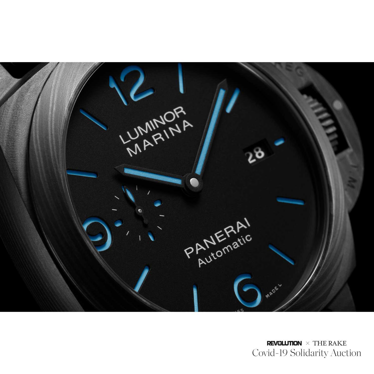 Factory Prototype Luminor Marina PAM 1661 Carbotech 44 with blue indexes for Revolution x The Rake Covid-19 Solidarity Auction