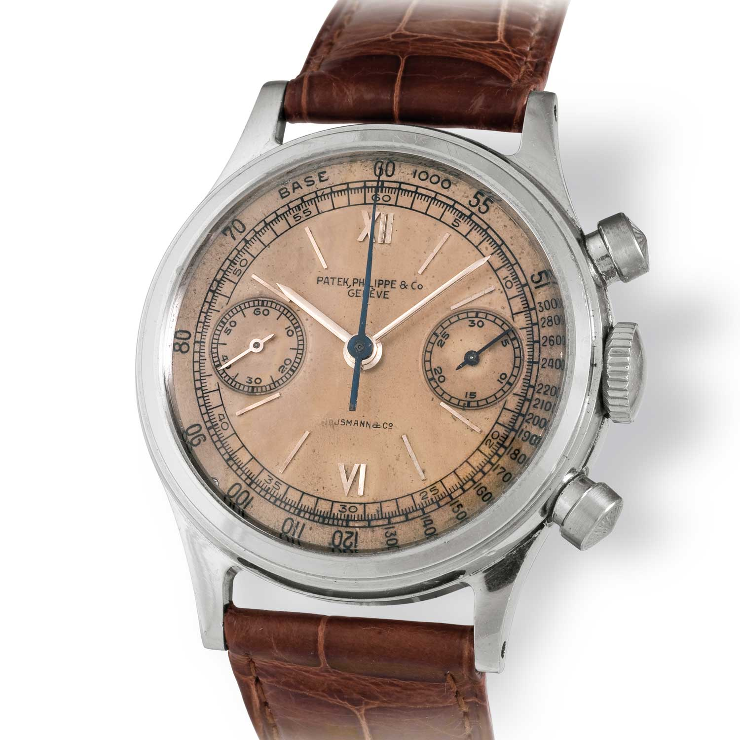 Patek Philippe ref. 1463 steel chronograph with Roman numerals on a pink /salmon dial (Image: John Goldberger)