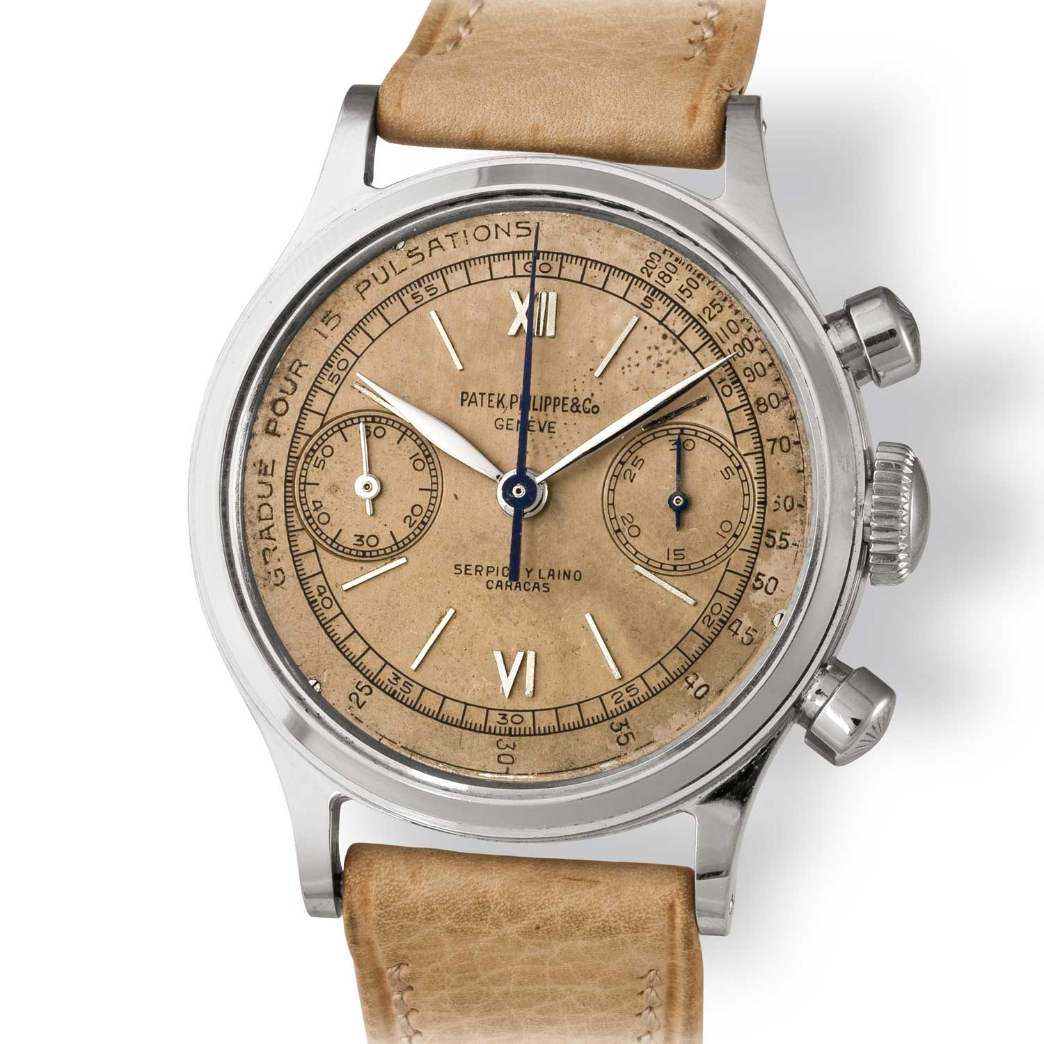 Patek Philippe ref. 1463 steel chronograph with Roman numerals and pulsation scale on a salmon dial (Image: John Goldberger)