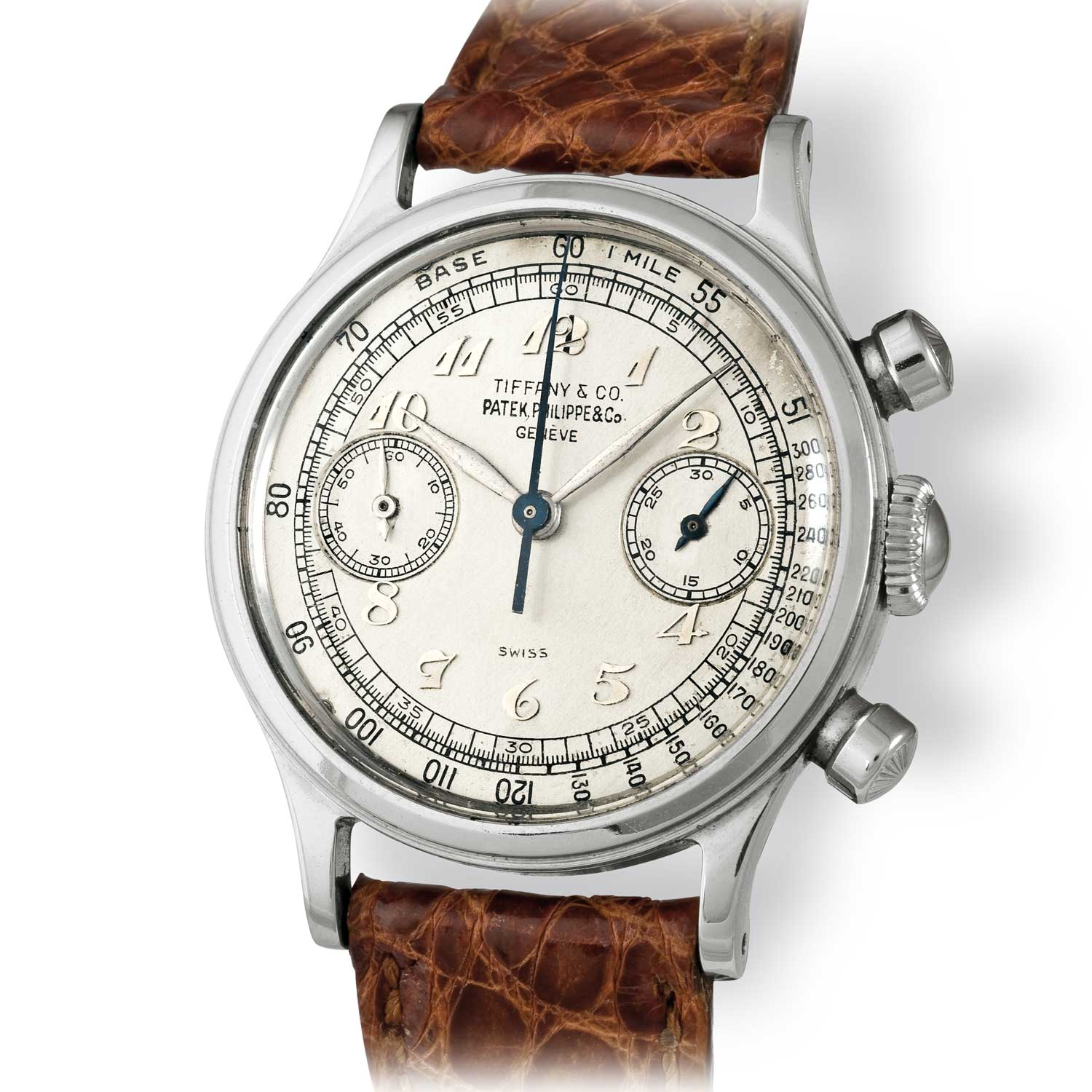 Patek Philippe ref. 1463 steel chronograph with Breguet numerals and Tiffany stamped dial (Image: John Goldberger)