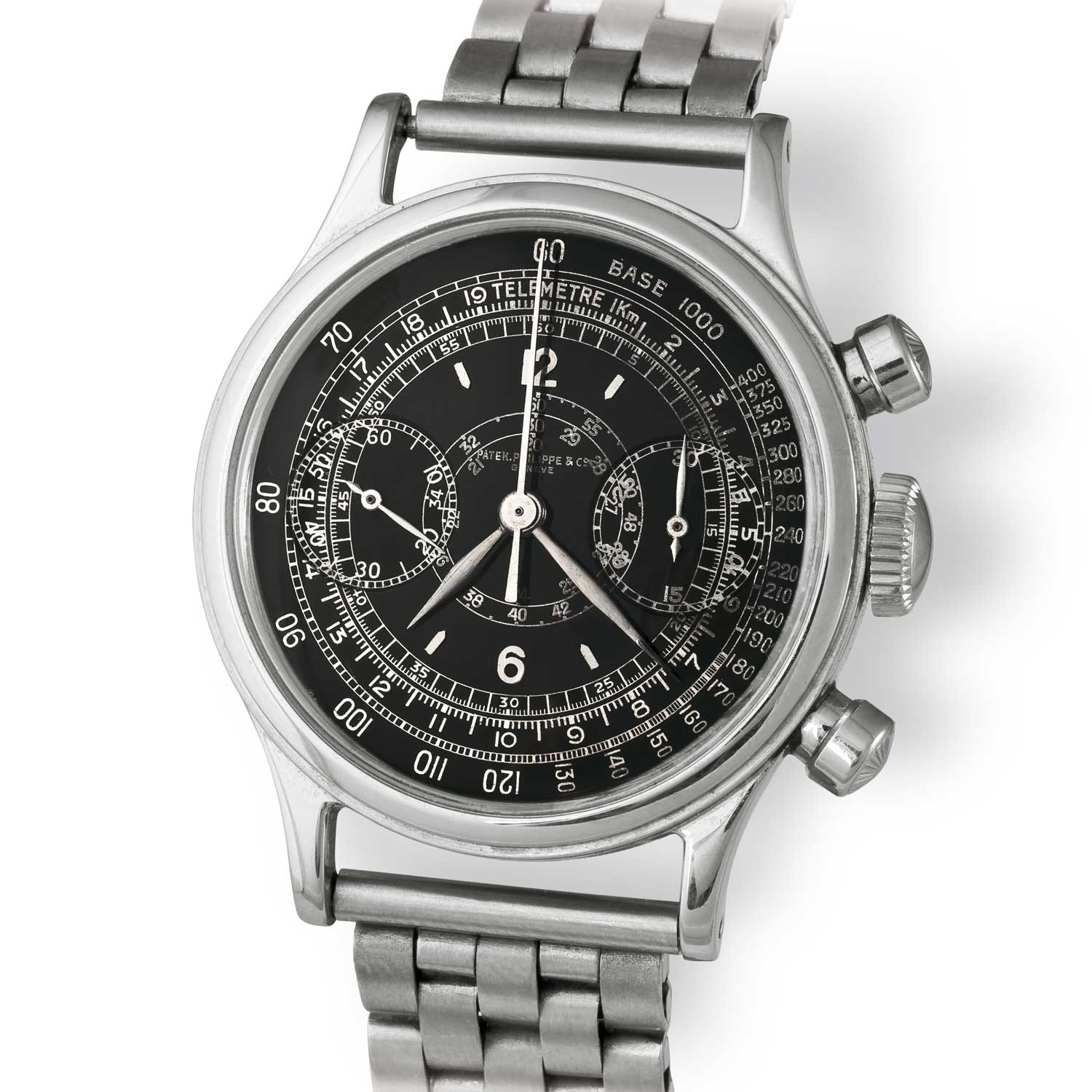 Patek Philippe ref. 1463 steel chronograph with black scientific dial (Image: John Goldberger)