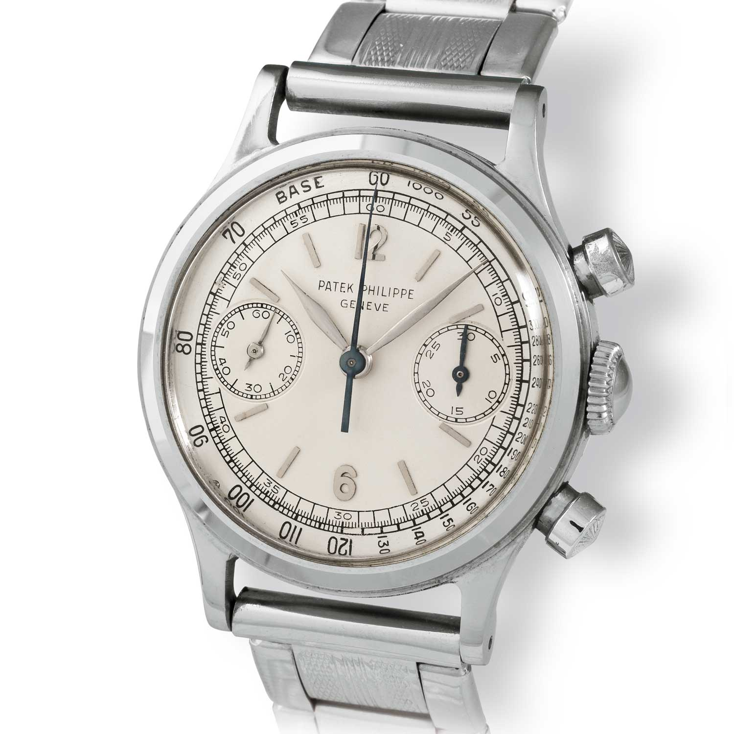 Patek Philippe ref. 1463 steel chronograph with Arabic numerals on a Gay Frères link-model bracelet (Image: John Goldberger)