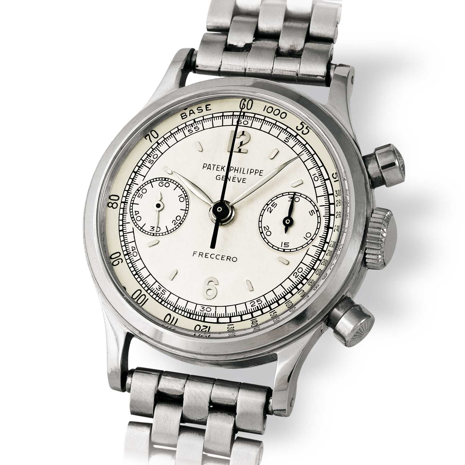 Patek Philippe ref. 1463 steel chronograph with Arabic numerals on a Gay Frères brick-style bracelet (Image: John Goldberger)