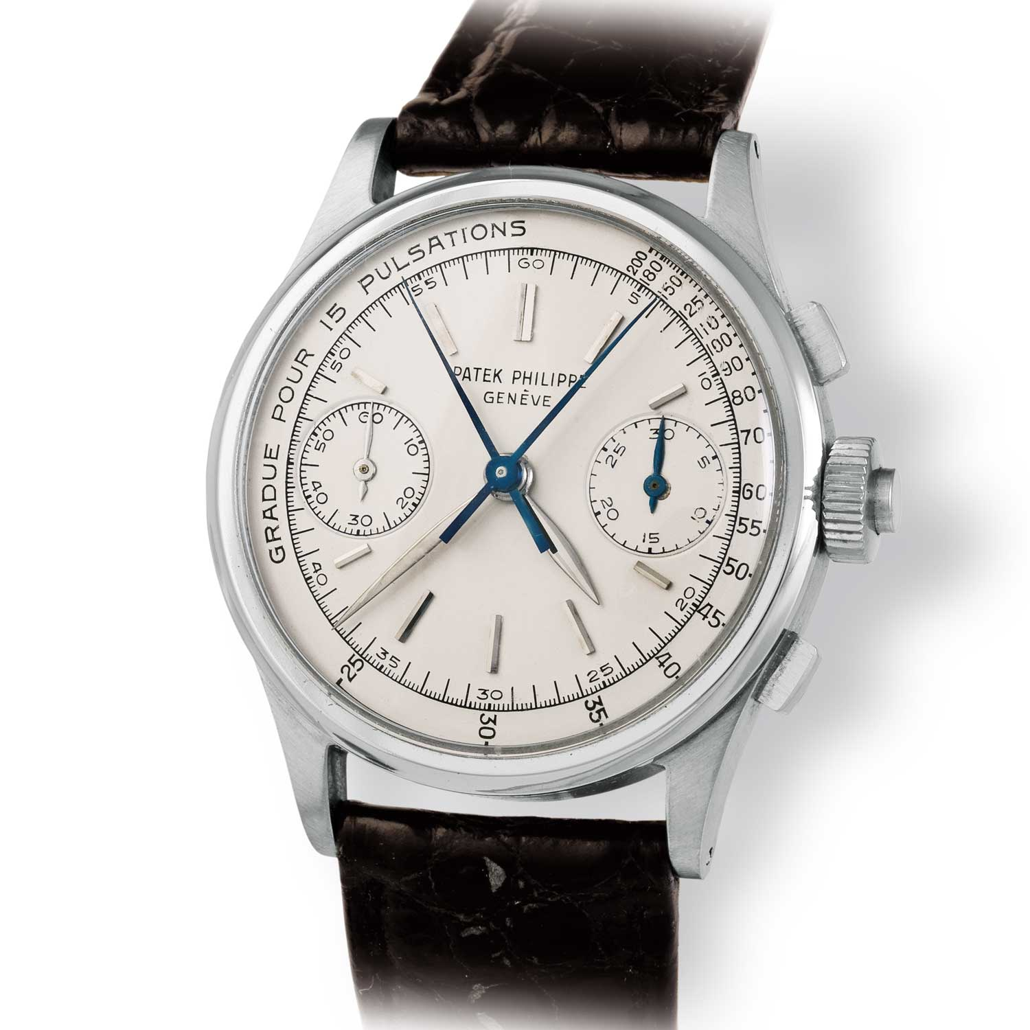 The only other Patek Philippe ref. 1436 steel split second chronograph with baton markers and pulsation scale (Image: John Goldberger)