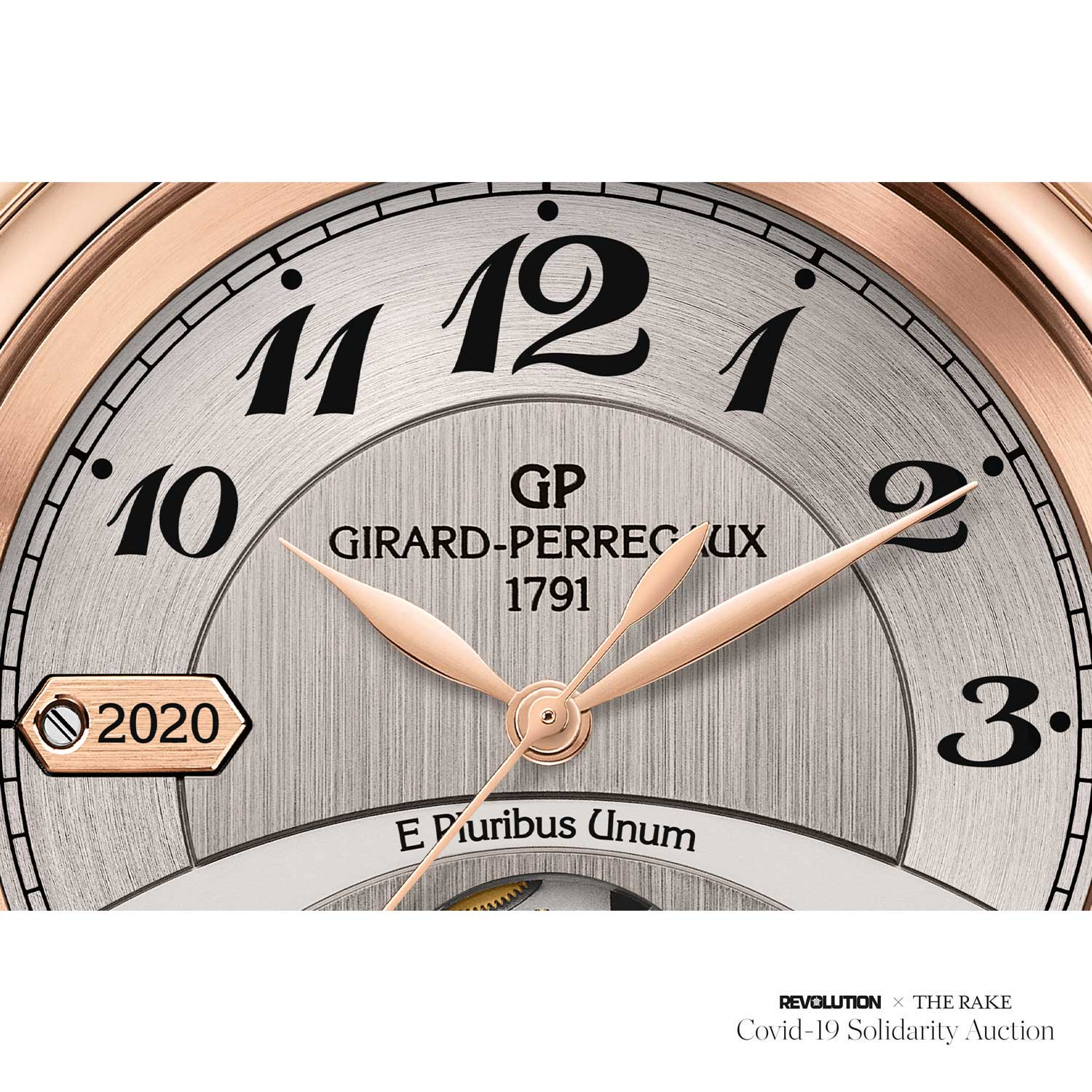 Place Girardet Prototype with 2020 marked on the year plate, which is outside of the 1791-2016 formally issued pieces in 2016, specially engraved for Revolution x The Rake Covid-19 Solidarity Auction