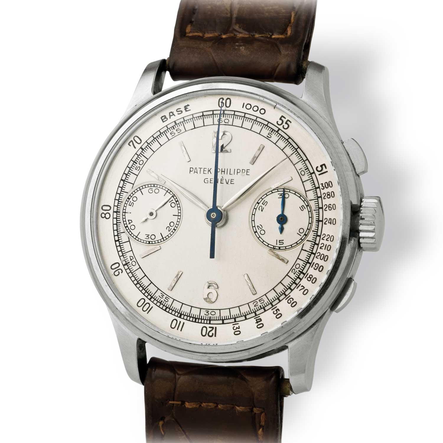 Patek Philippe ref. 130 steel chronograph with Arabic numerals (Image: John Goldberger)