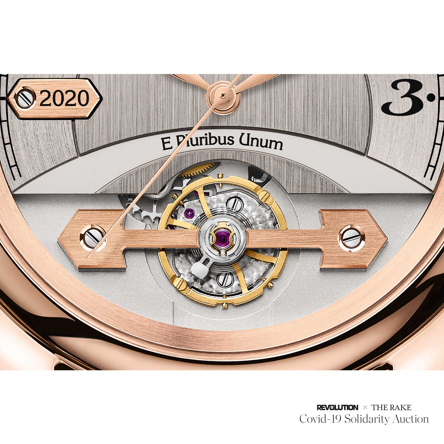 "Place Girardet Prototype with Special Engraving ""E Pluribus Unum"" above the solitary bridge on the balance wheel, made for Revolution x The Rake Covid-19 Solidarity Auction"