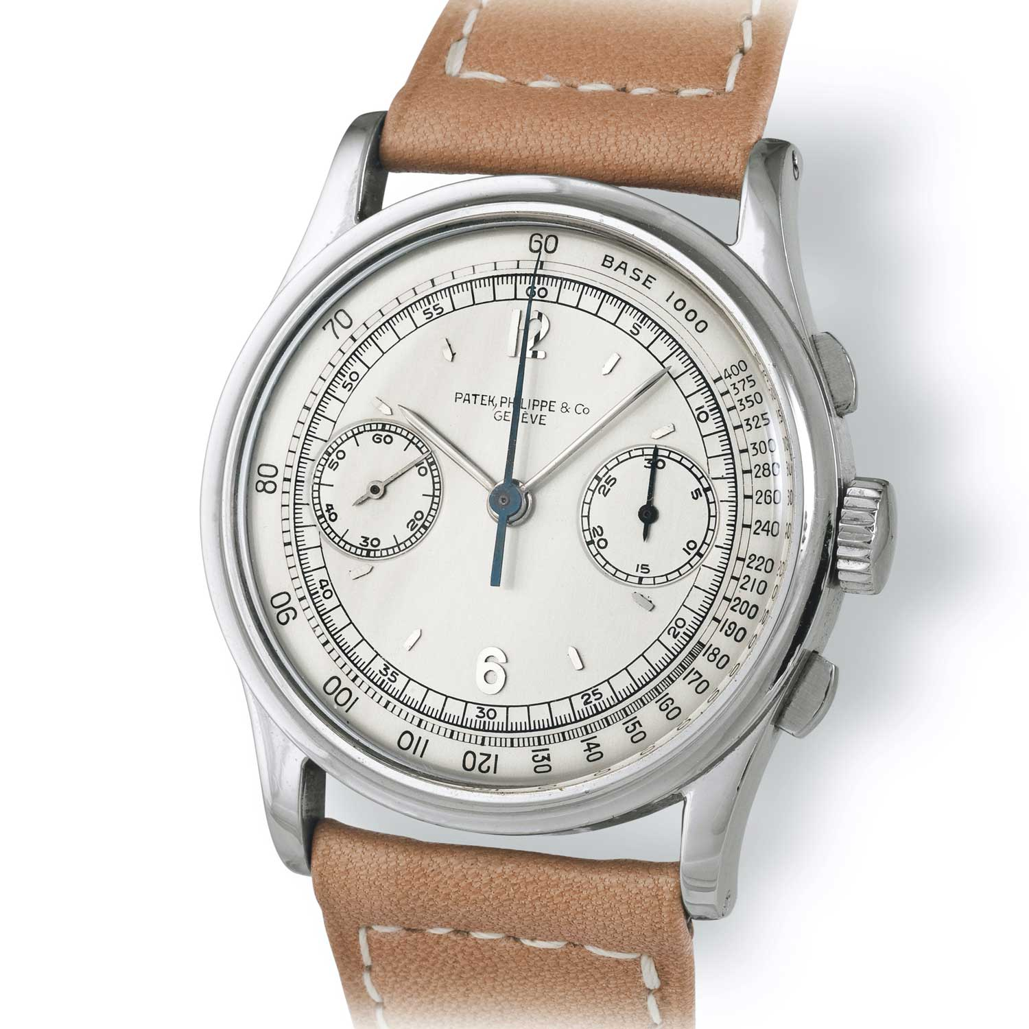 Patek Philippe ref. 530 steel chronograph with Arabic numerals and pointed baton markers (Image: John Goldberger)