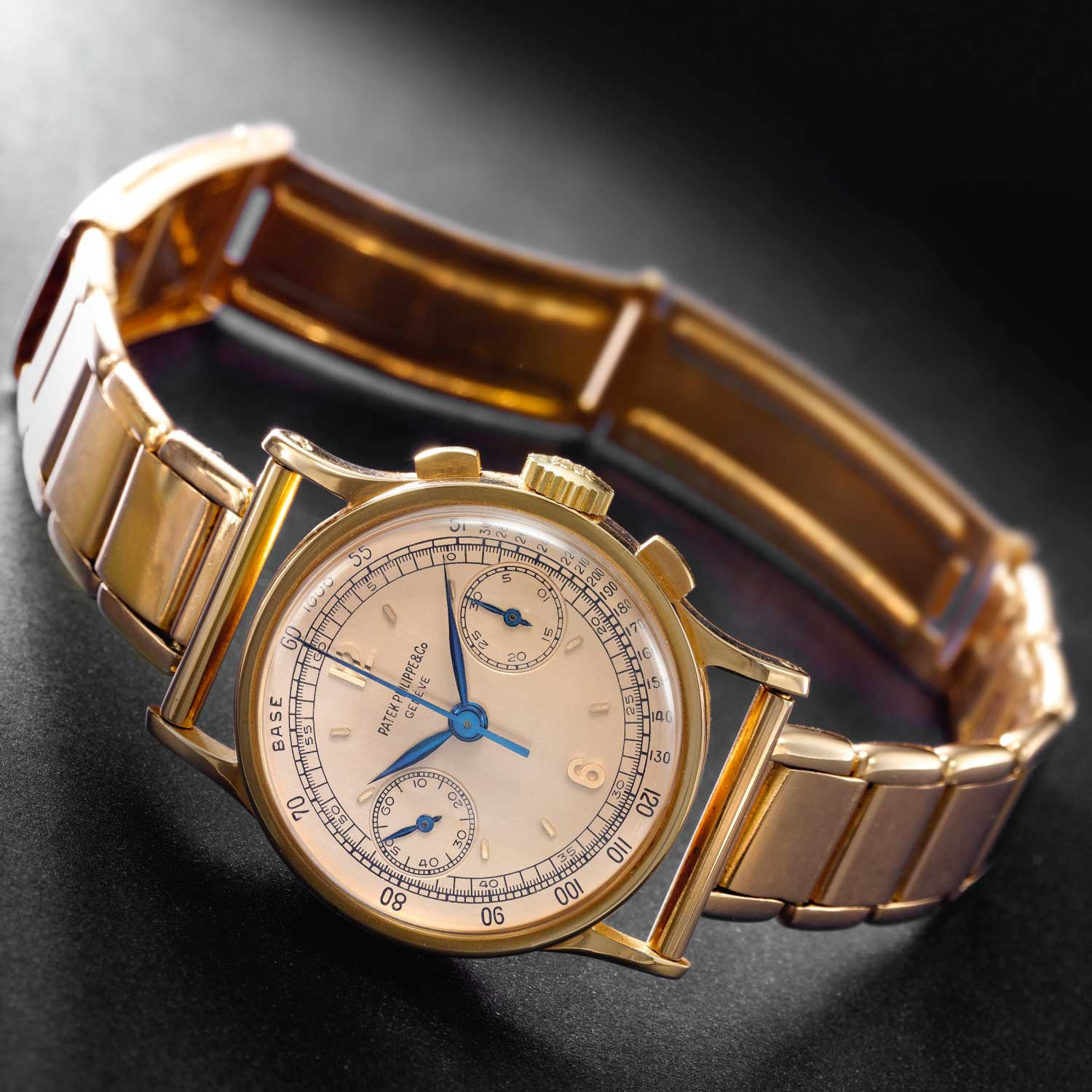1947 Patek Philippe ref. 533 yellow gold chronograph with Arabic numerals fitted on a later 18k pink gold bracelet and folding clasp signed Patek Philippe (Image: Sothebys.com)