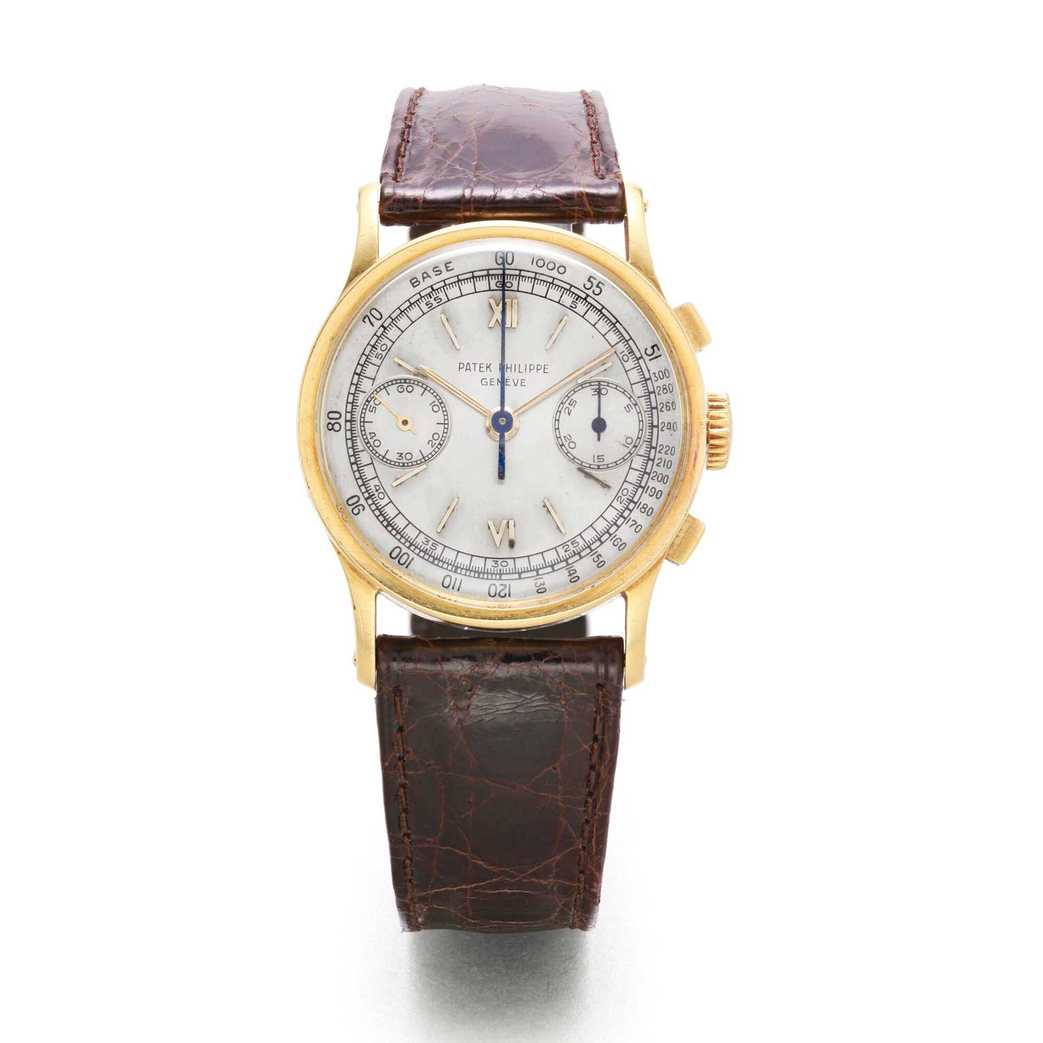 1952 Patek Philippe ref. 533 yellow gold chronograph with silvered dial and Roman numerals (Image: Sothebys.com)