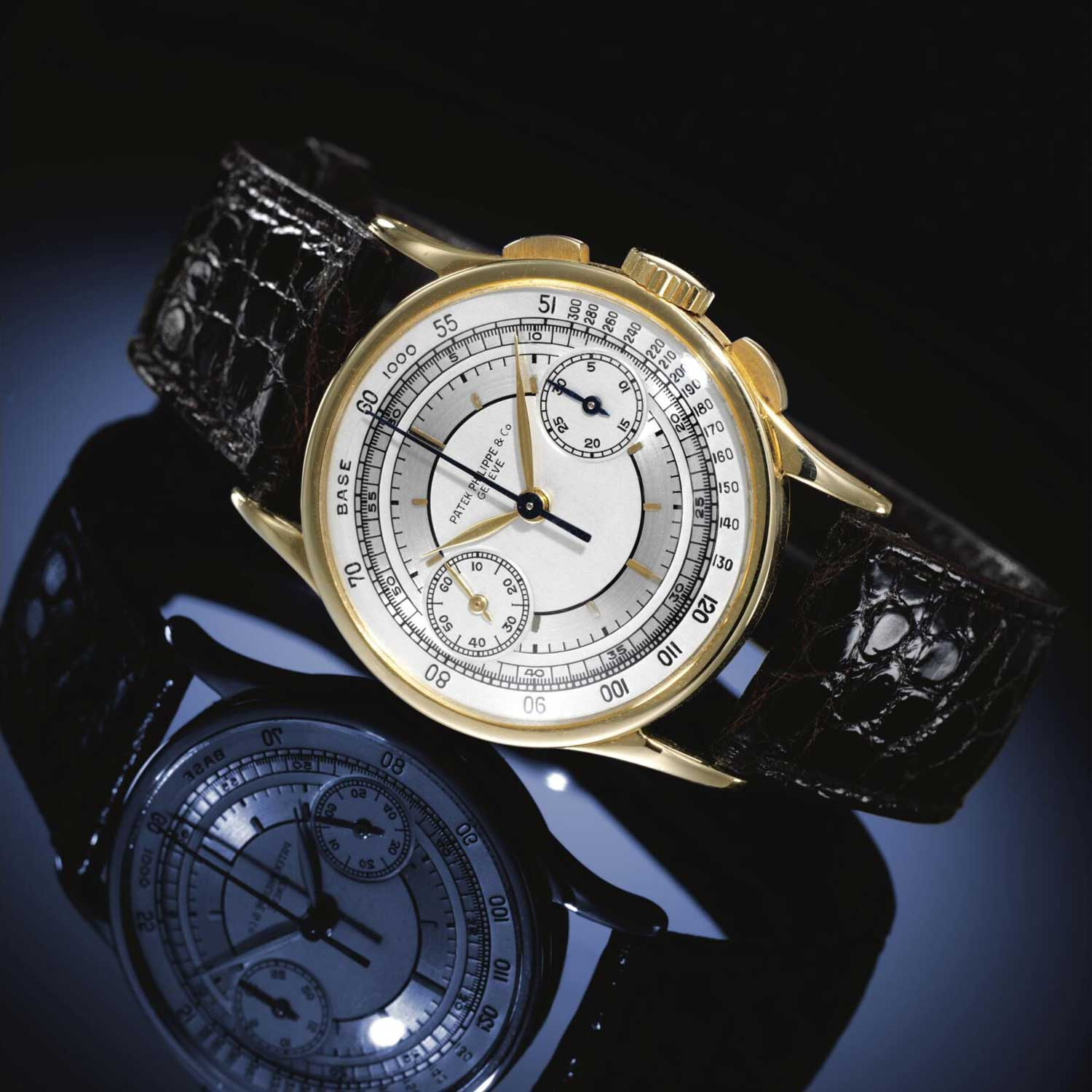 1937 Patek Philippe ref 533 yellow gold chronograph with a tow tone sector dial (Image: Sothebys.com)