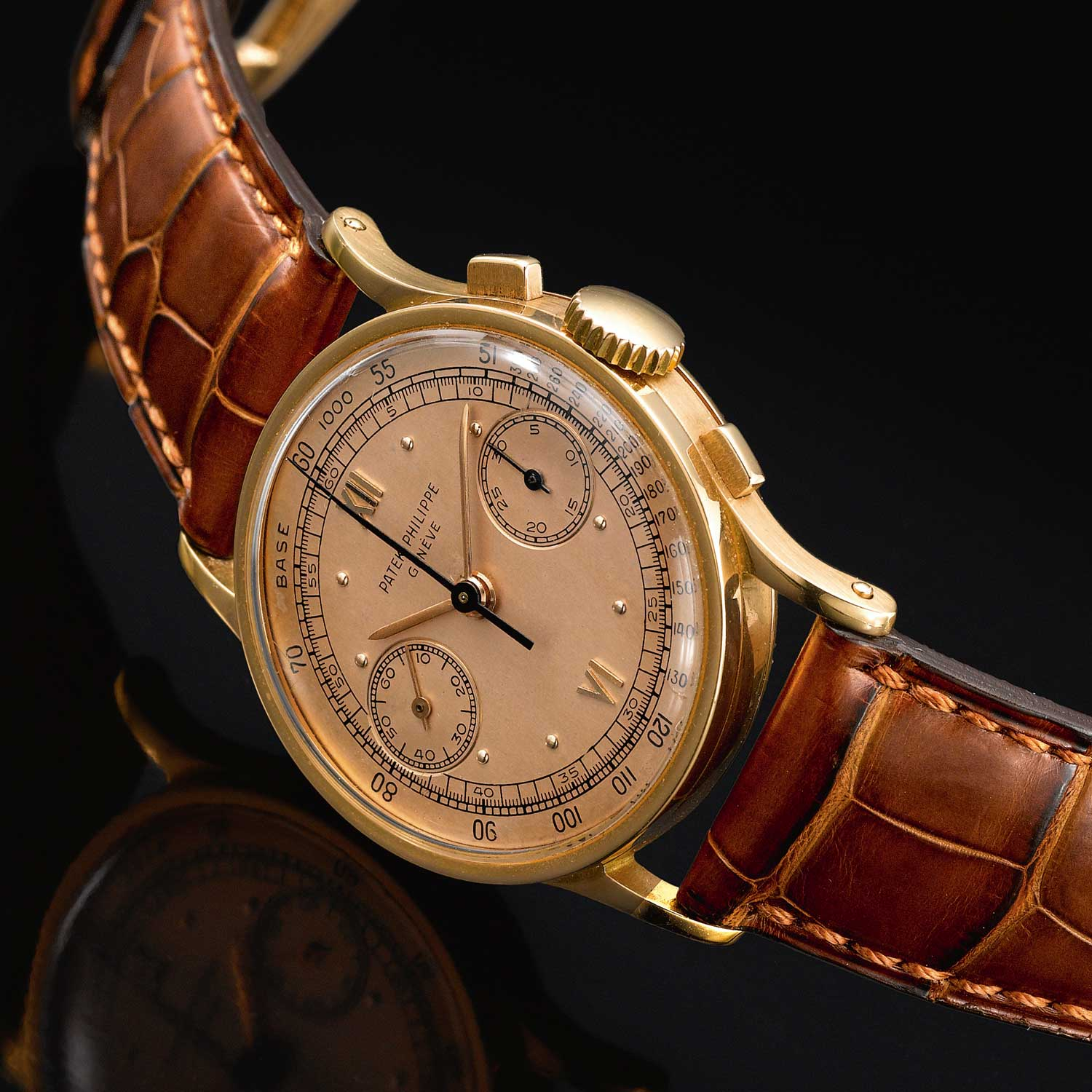 1950 Patek Philippe ref. 533 pink gold chronograph with pink dial and Roman numerals (Image: Sothebys.com)