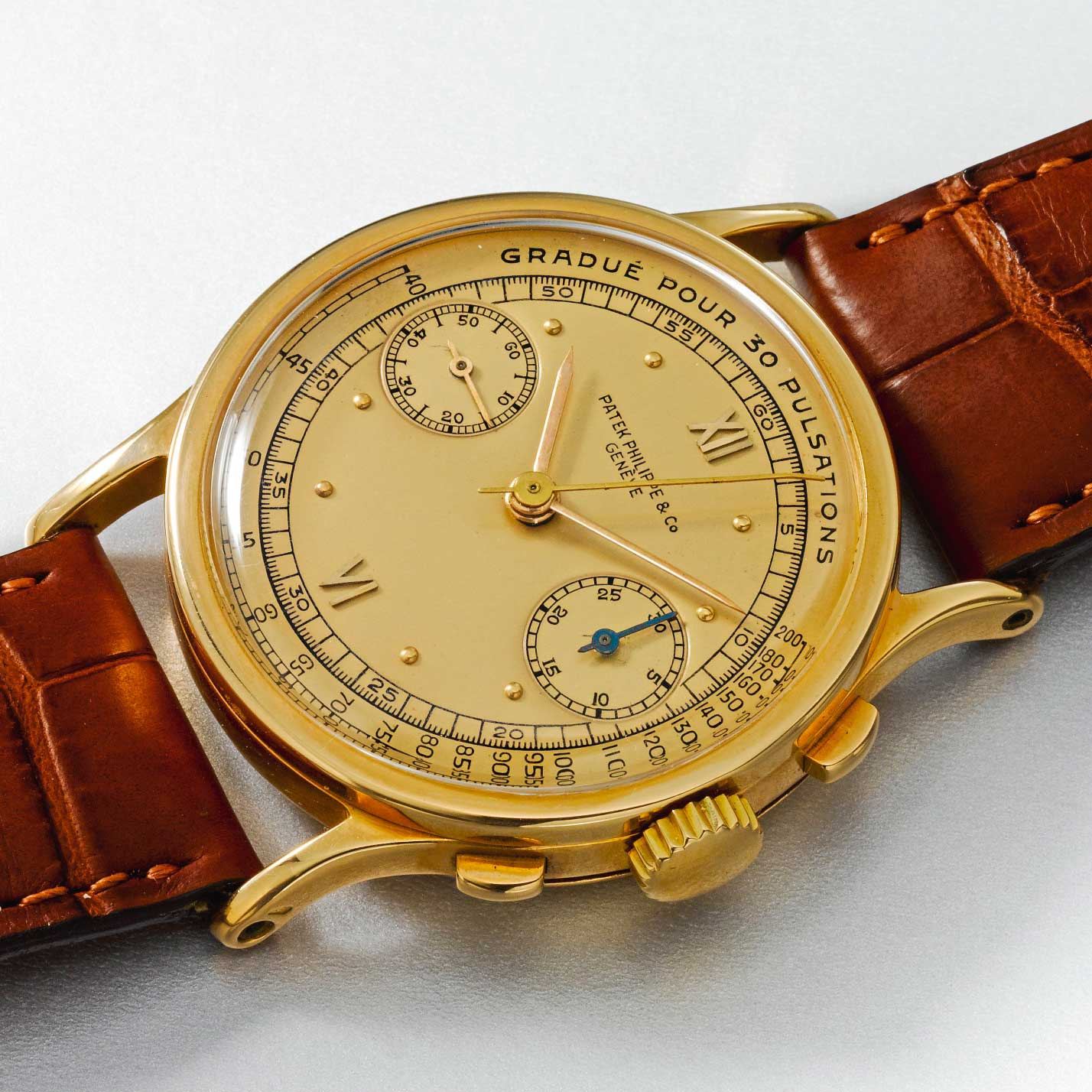 1940 Patek Philippe ref. 533 pink gold chronograph with satin finished pink dial, Roman numerals and pulsation scale (Image: Sothebys.com)