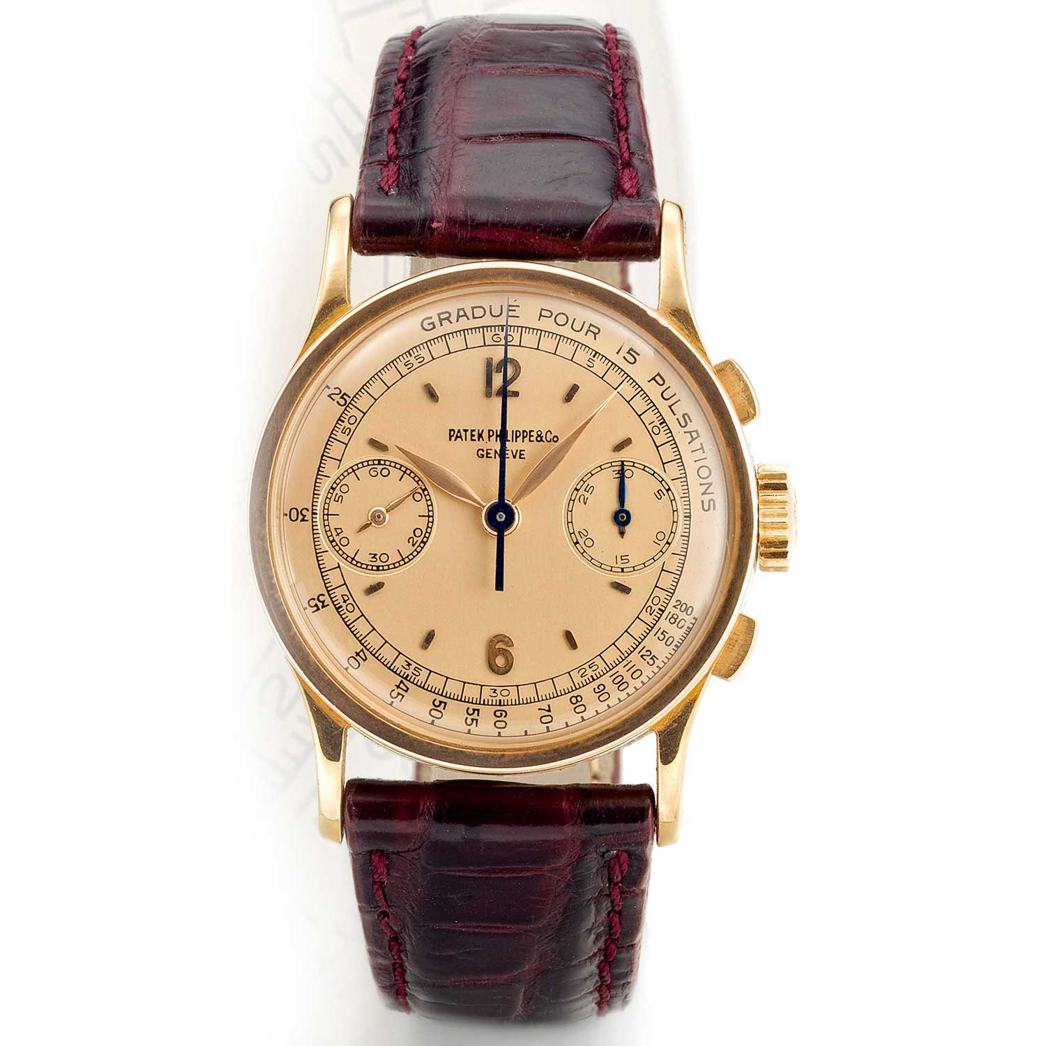 1947 Patek Philippe ref. 533 pink gold chronograph with satin finished pink dial, Arabic numerals and pulsation scale (Image: Sothebys.com)