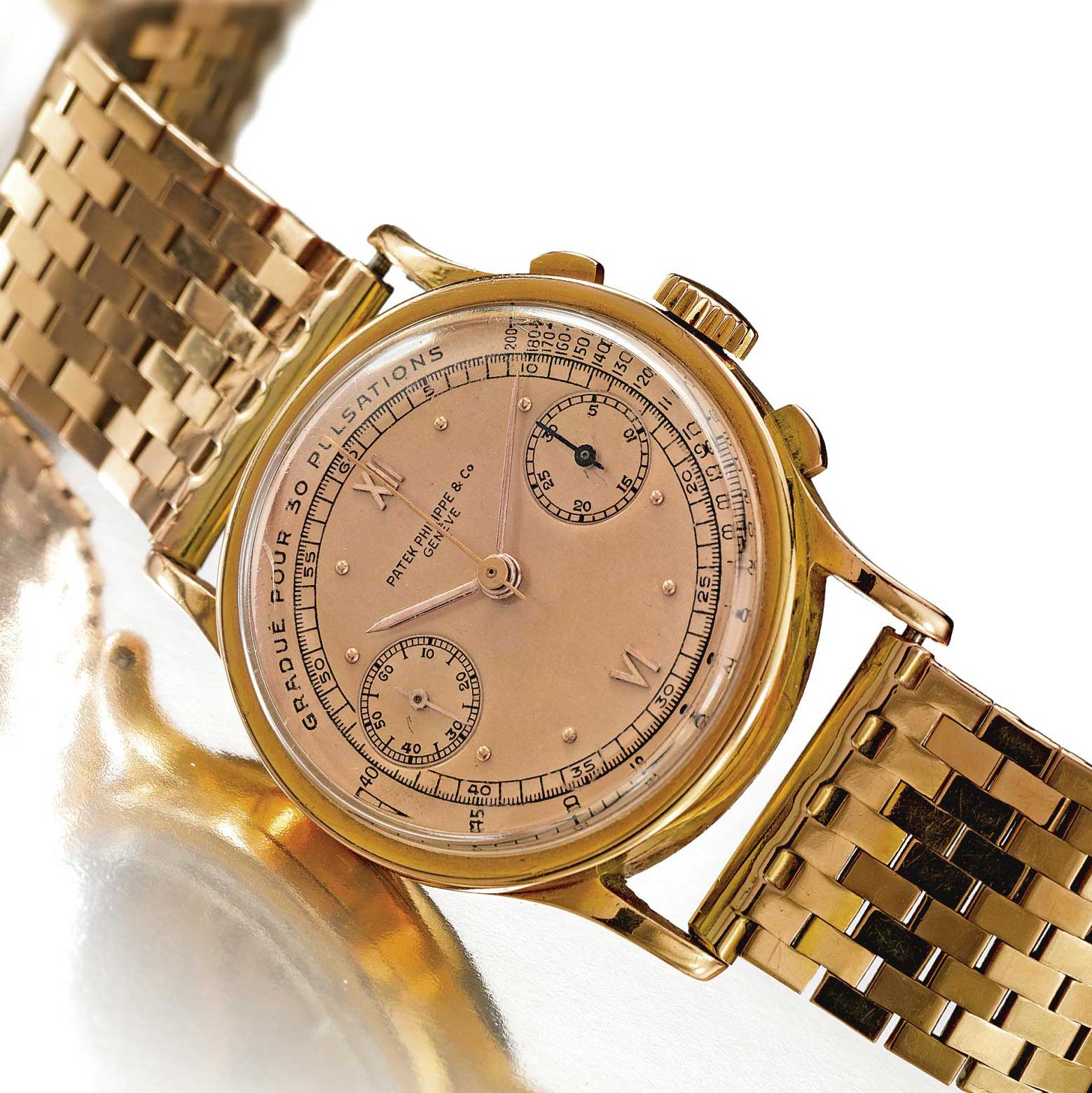 1940 Patek Philippe ref. 533 pink gold chronograph with satin finished pink dial, Roman numerals and pulsation scale fitted on a pink gold brick-form associated bracelet (Image: Sothebys.com)