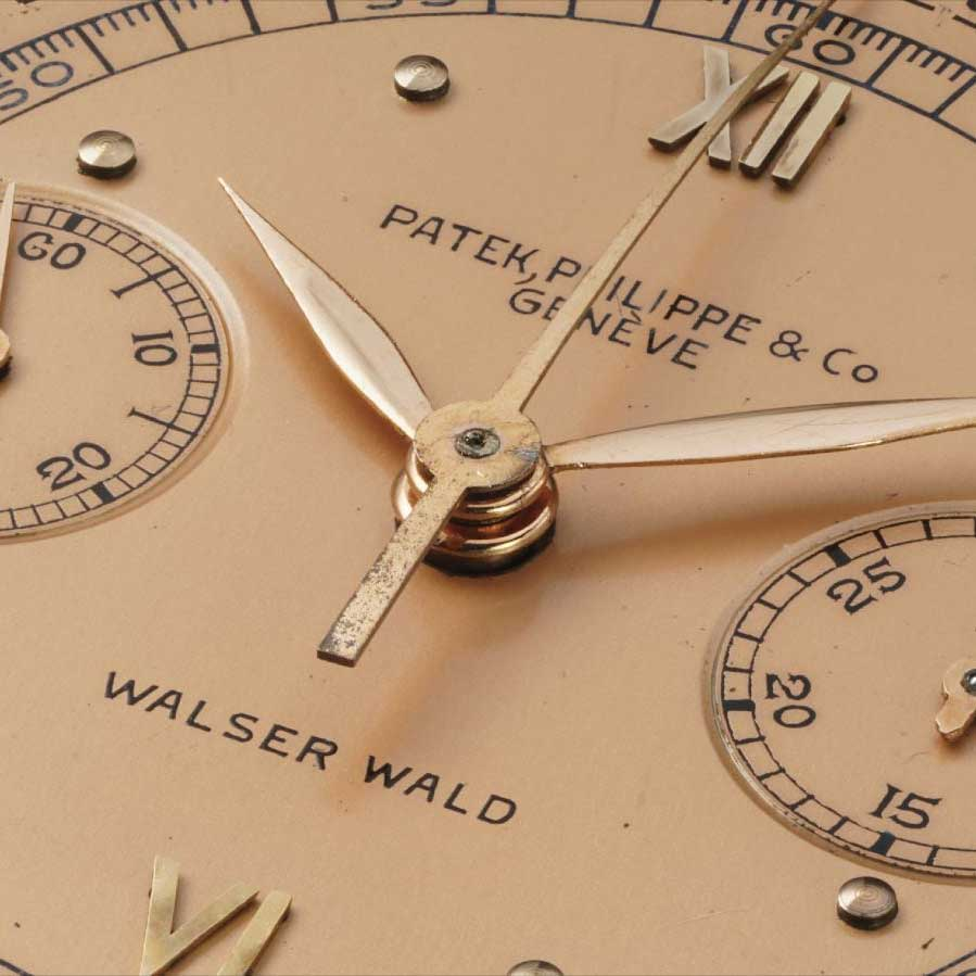 Double stamped 1939 Patek Philippe ref. 591 pink gold chronograph with Roman numerals and pulsation scale retailed by Waser Wald (Image: PhillipsWatches.com)