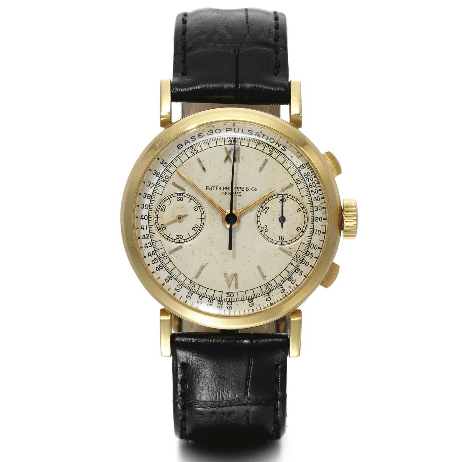 1943 Patek Philippe ref. 591 yellow gold chronograph with Roman numerals and pulsation scale (Image: Sothebys.com)