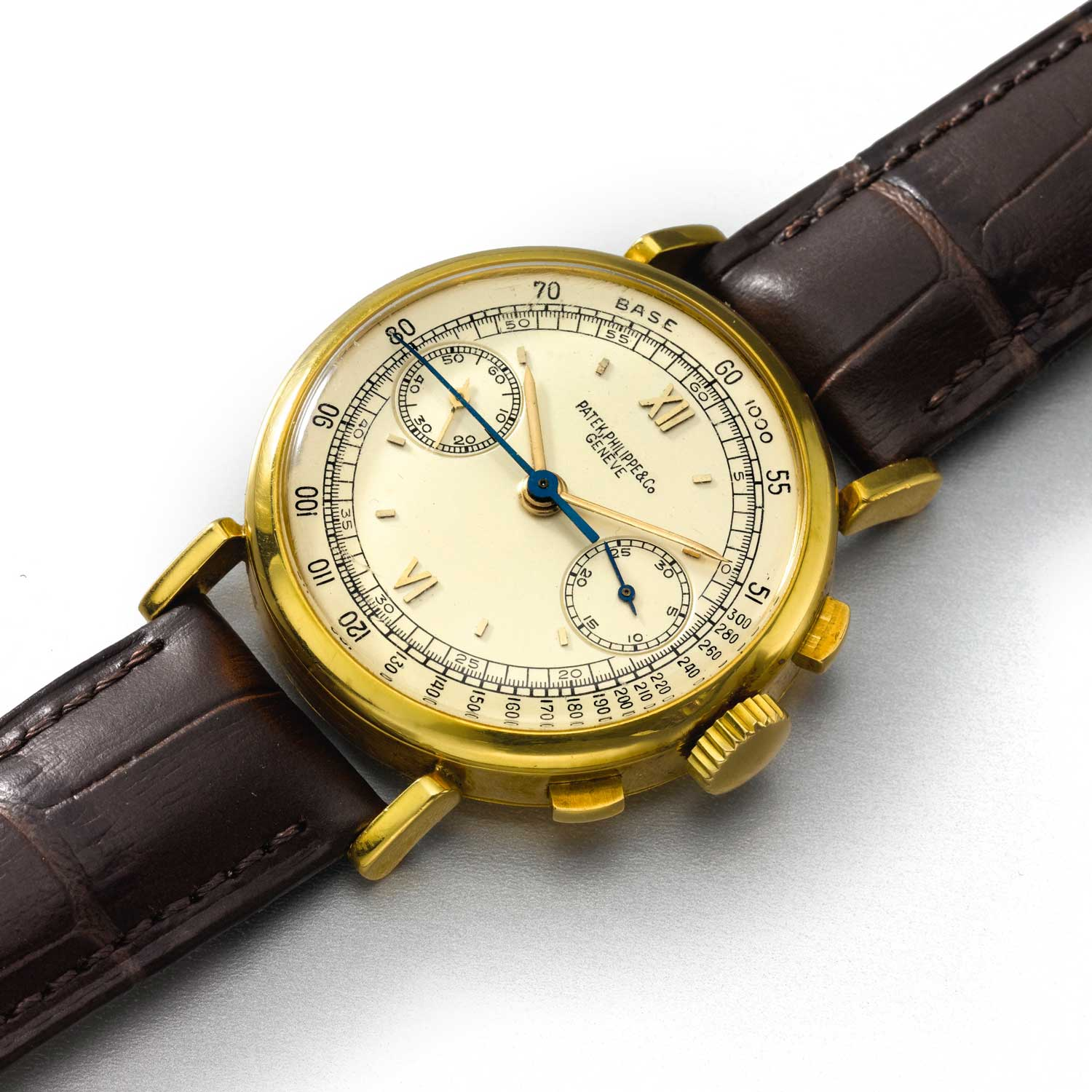 1943 Patek Philippe ref. 591 yellow gold chronograph with Roman numerals and tachymeter scale (Image: Sothebys.com)
