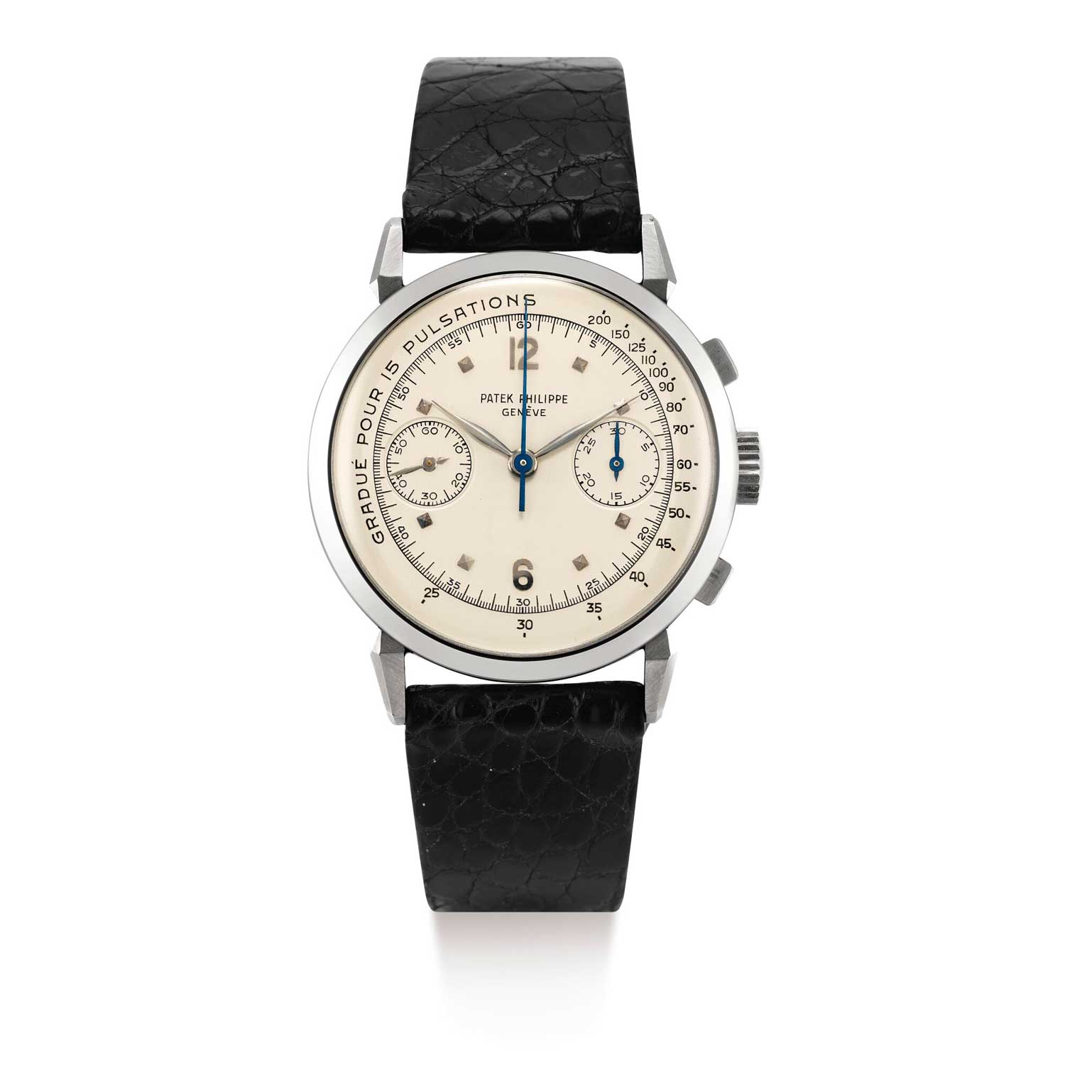 Patek Philippe ref. 1579 stainless steel chronograph wristwatch with registers and pulsation dial; movement made in 1941 and sold in 1942 case and dial circa 1950 completed on special request in 1991 (Image: Sothebys.com)