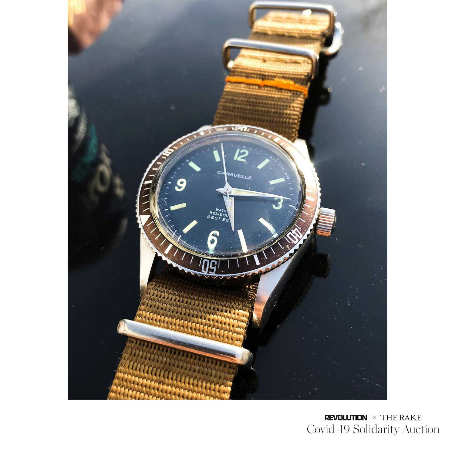 Caravelle Seahunter Vintage Diver (c. 1960) donated by @timeandgrooves for Revolution x The Rake Covid-19 Solidarity Auction