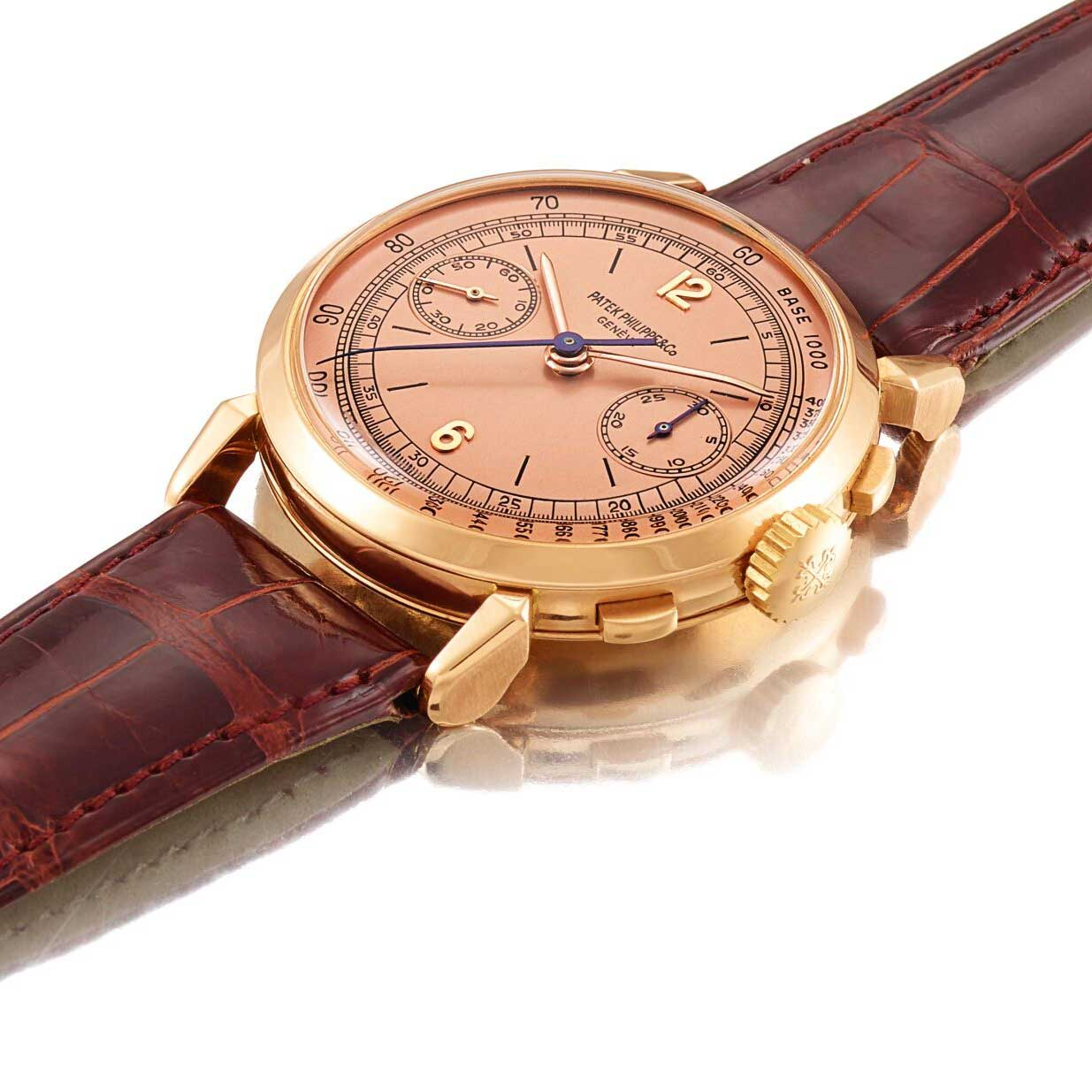 Spider lugs on the 1947 Patek Philippe ref. 1579 pink gold chronograph with Roman numerals and pink gold dial (Image: Sothebys.com)