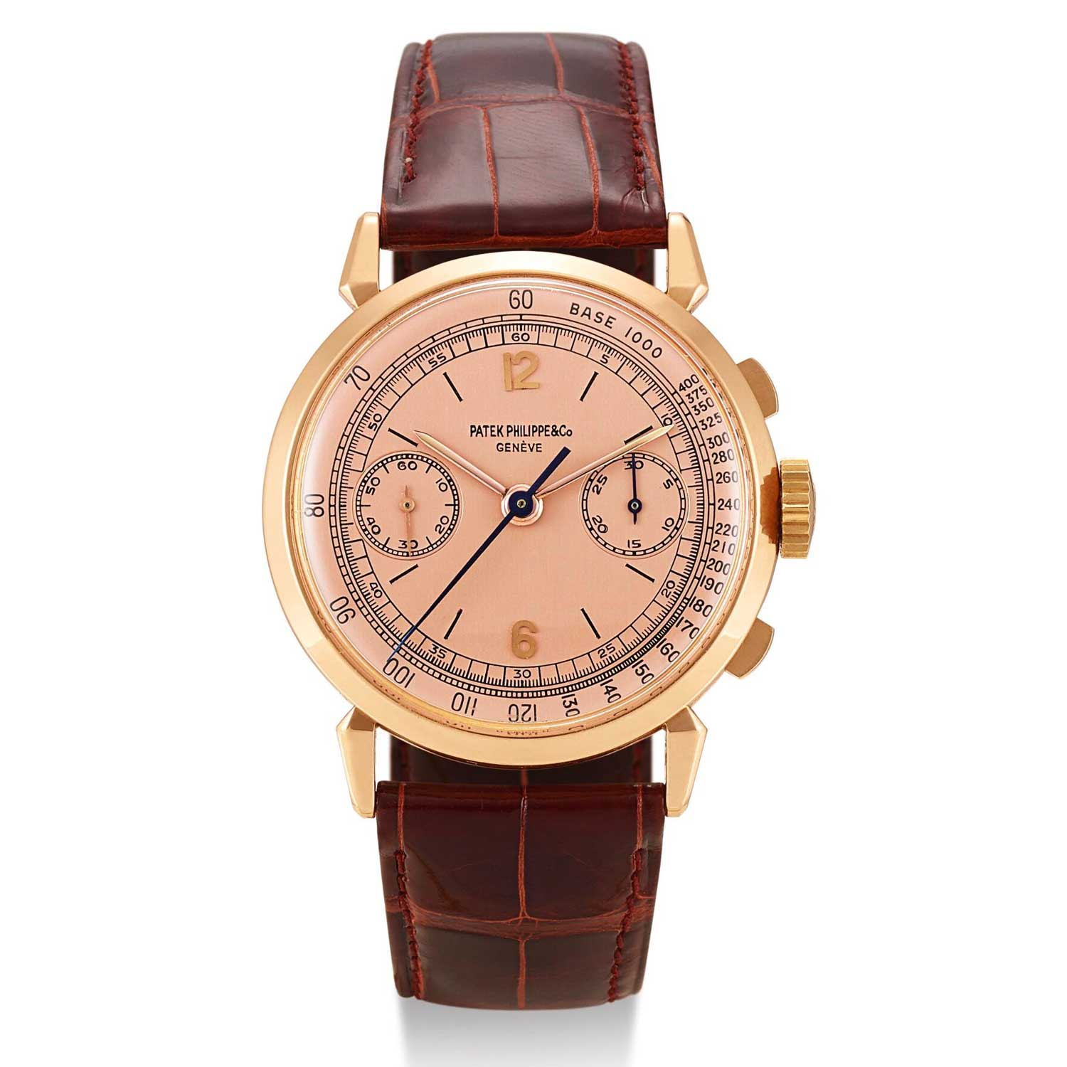 1947 Patek Philippe ref. 1579 pink gold chronograph with Roman numerals and pink gold dial (Image: Sothebys.com)