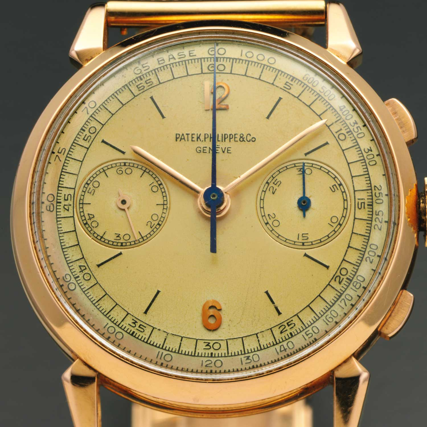 A closeup of the dial of the 1948 Patek Philippe ref. 1579 pink gold chronograph with silvered dial, gold applied Arabic numerals and enamelled baton indexes (Image: Sothebys.com)