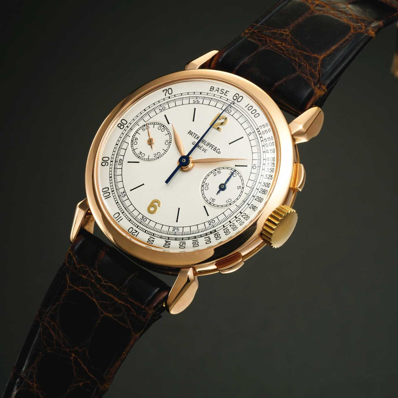 1948 Patek Philippe ref. 1579 pink gold chronograph with silvered dial, gold applied Arabic numerals and enamelled baton indexes (Image: Sothebys.com)