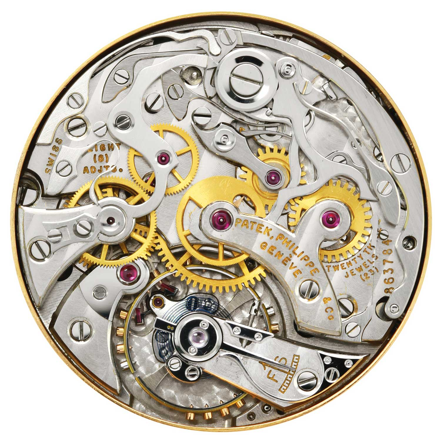 Close up of the cal. 13''' manual winding nickel lever movement powering the 1948 Patek Philippe ref. 1579 pink gold chronograph with silvered dial, gold applied Arabic numerals and enamelled baton indexes (Image: Sothebys.com)