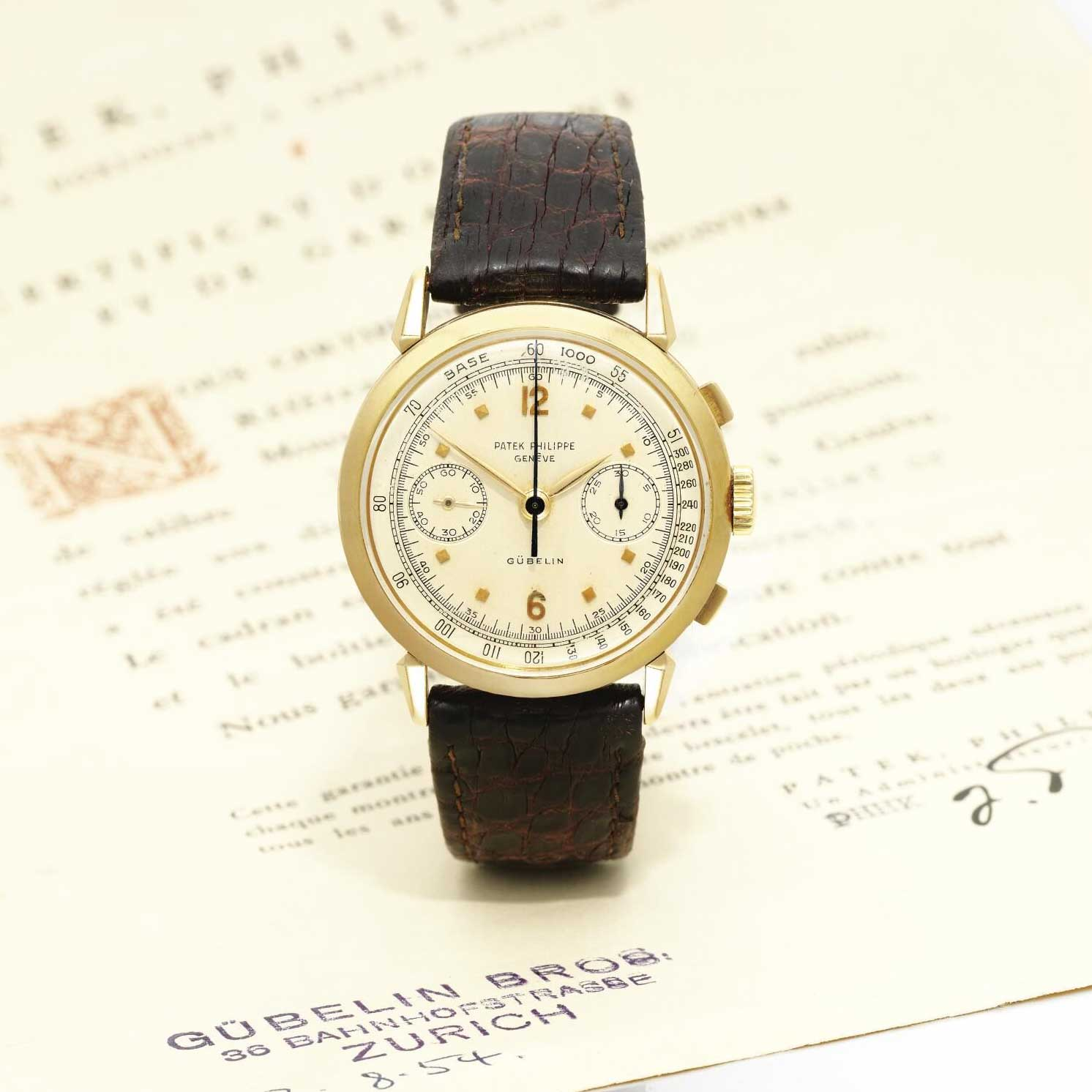 1953 Patek Philippe ref. 1579 yellow gold chronograph with silvered dial, applied gold faceted square and Arabic numerals, retailed by Gübelin (Image: Sothebys.com)