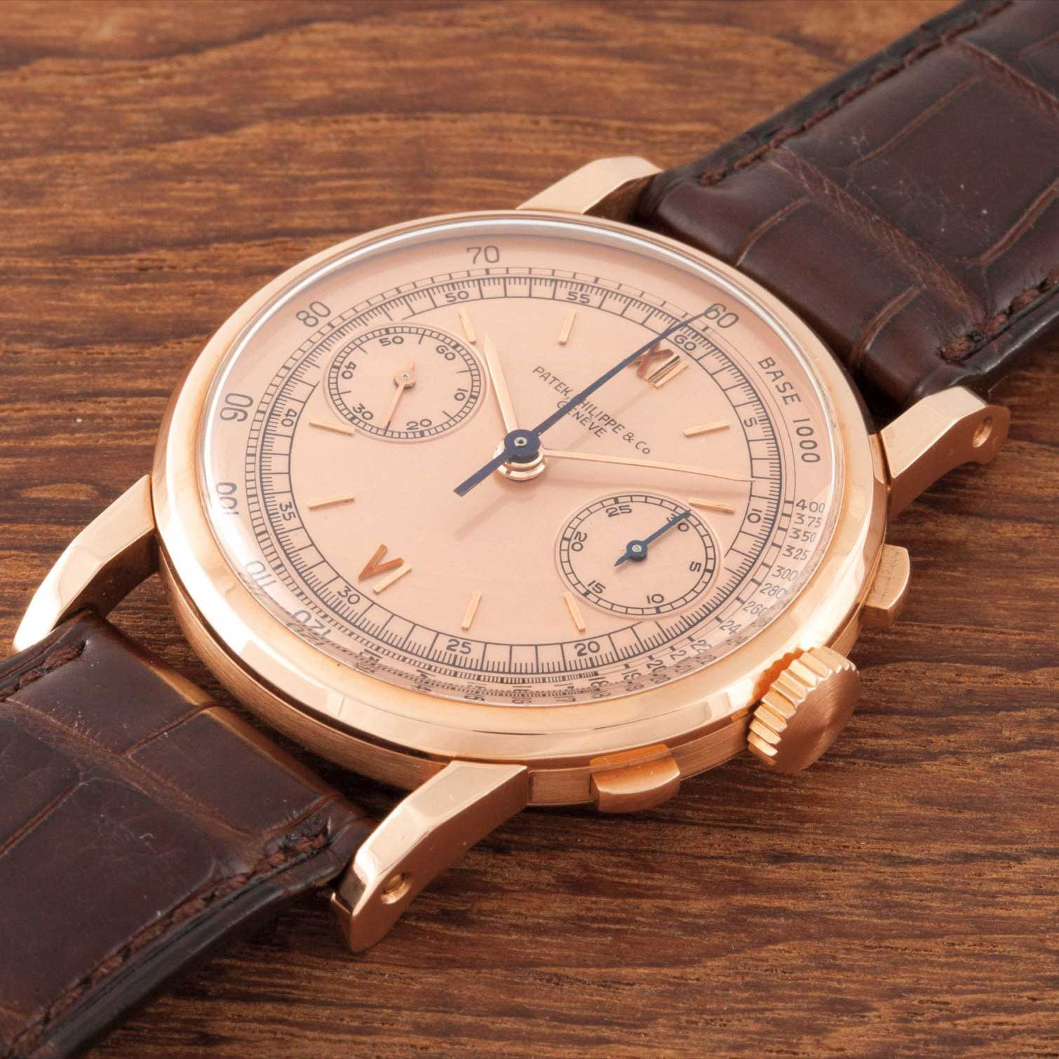1942 Patek Philippe ref. 1506 pink gold chronograph with Roman numerals on pink dial (Image: PhillipsWatches.com)