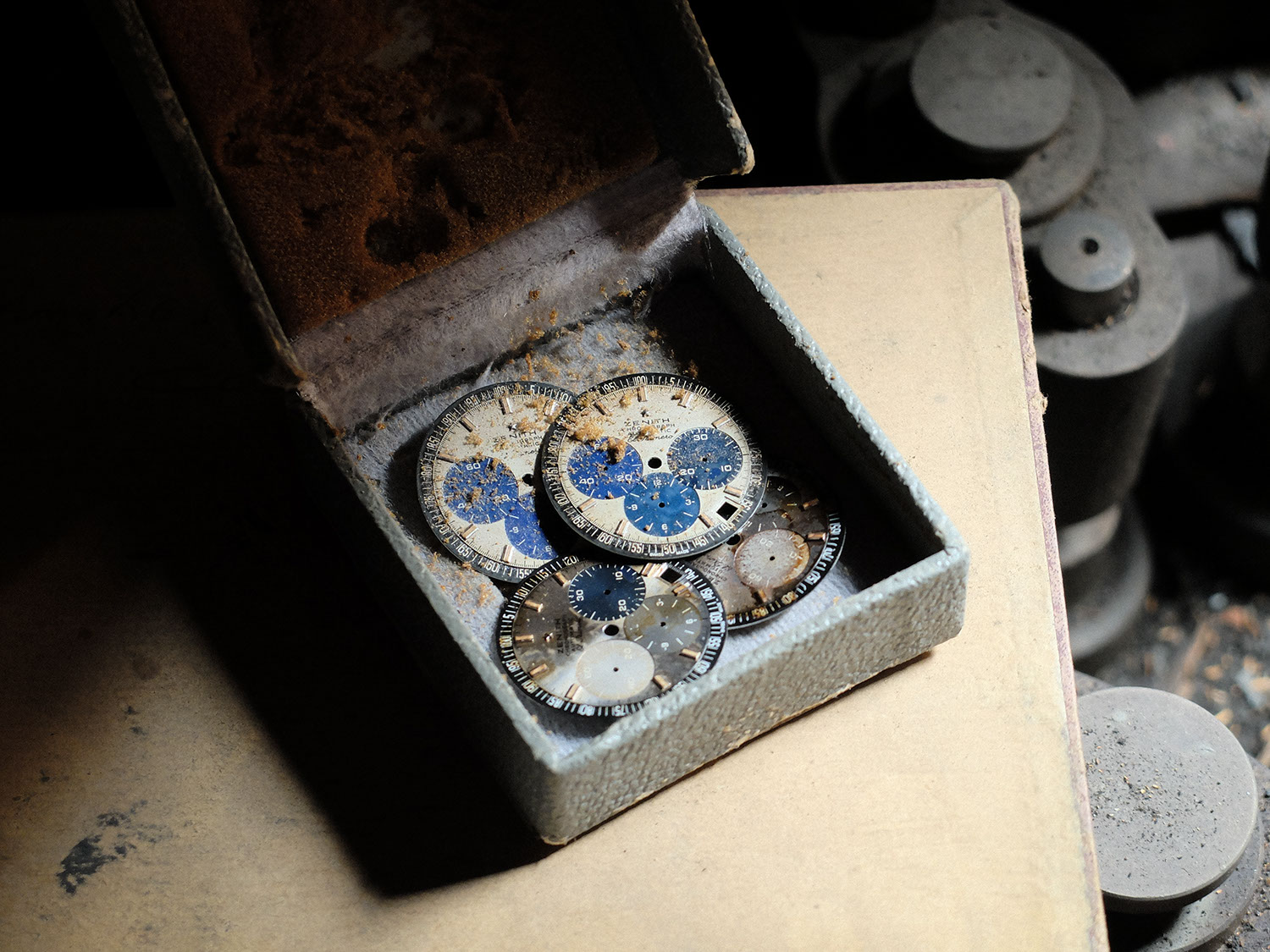 Prototype dials discovered in their famed attic from the days of Charles Vermot, which inspired the Zenith Chronomaster Revival Manufacture Edition