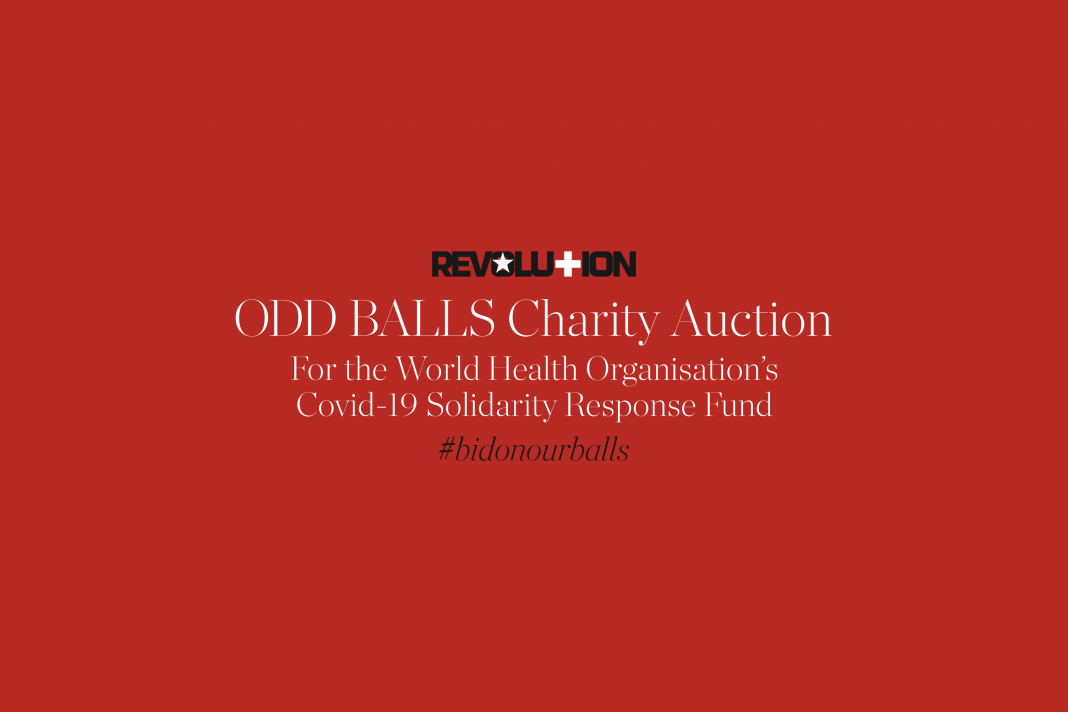 Revolution ODD BALLS Charity Auction for WHO's Covid-19 Solidarity Response Fund (Image © Revolution)