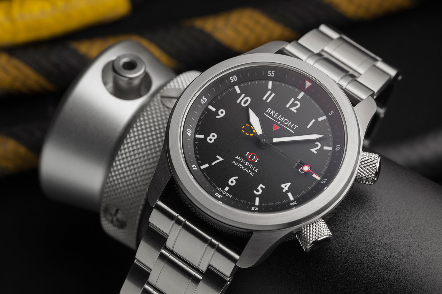 Bremont's updated 2020 MBII in the black dial variation on a metal bracelet
