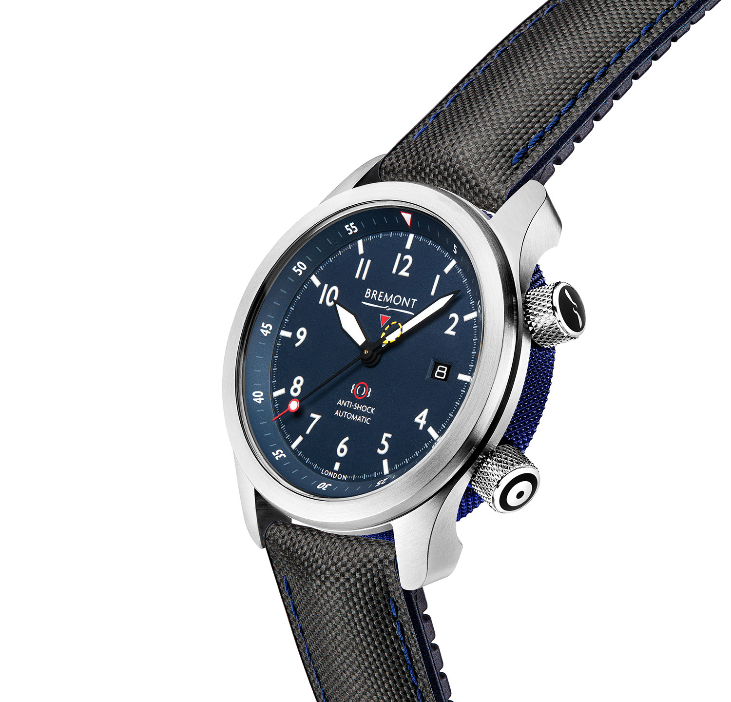Side profile of Bremont's updated 2020 MBII in the blue dial variation