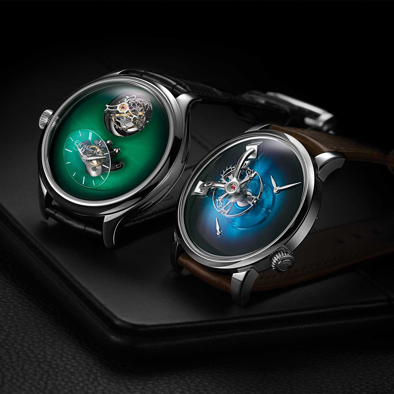 (L-R) MB&F × H. Moser Endeavour Cylindrical Tourbillon and LM101
