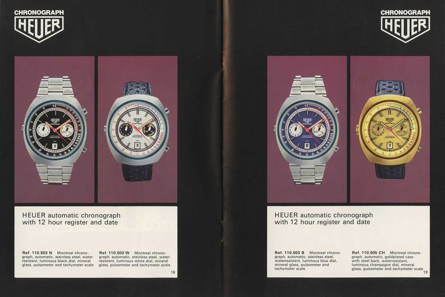 1972 Heuer catalog showing a few instances of the Montreal 110.503 powered by the Calibre 12