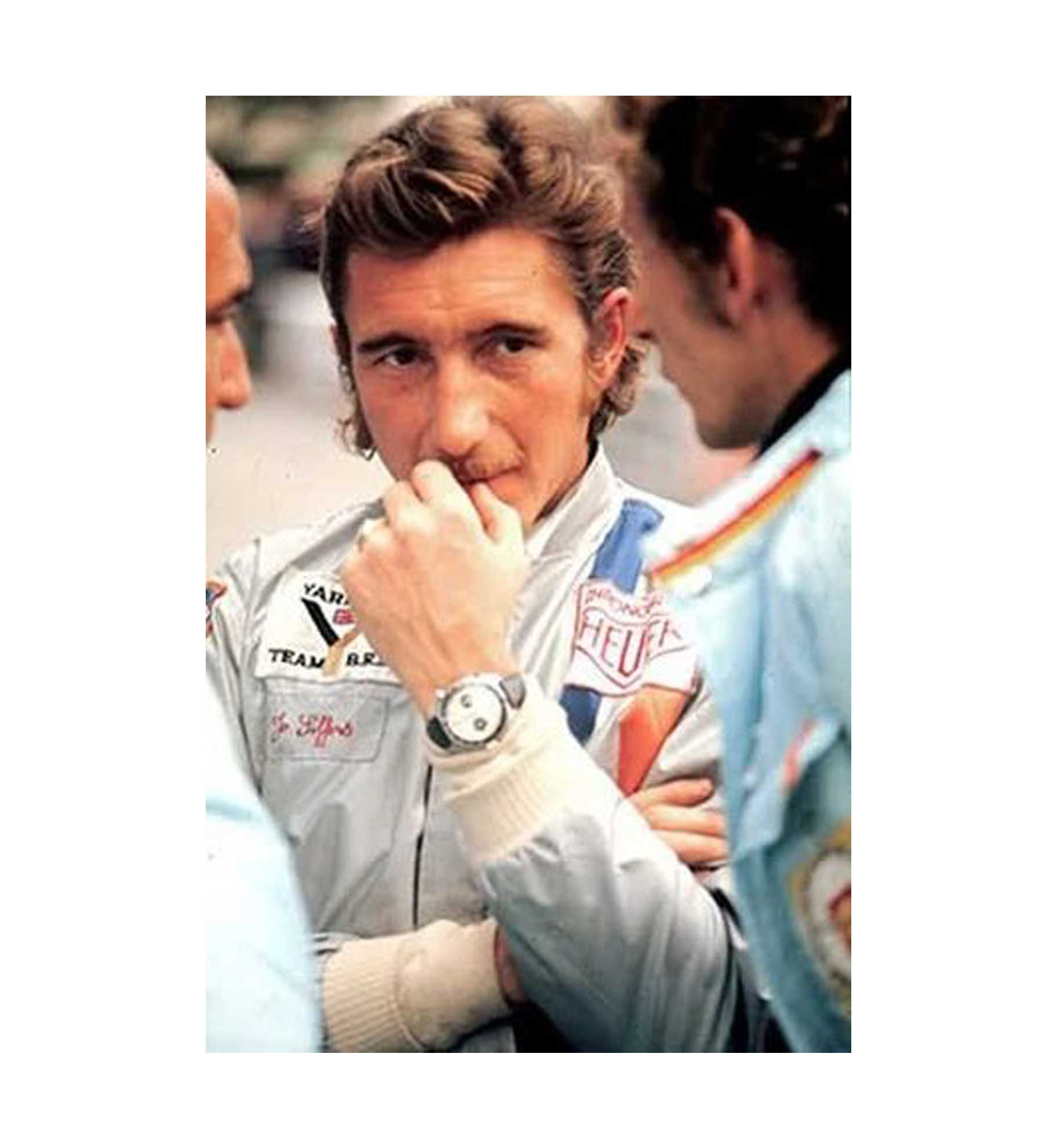"""Swiss Formula I driver Jo Siffert with the 1163 T """"Jo Siffert"""" on his wrist in clear view (Image: craftandtailored.com)"""