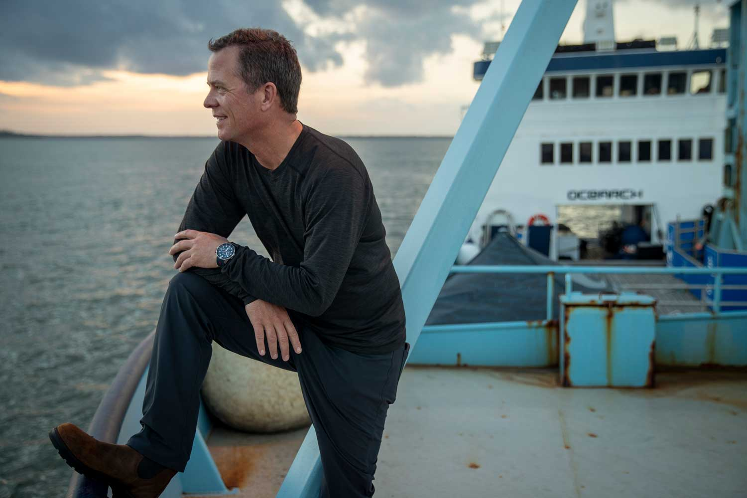 OCEARCH Founding Chairman and expedition leader Chris Fischer aboard the M/V OCEARCH, which serves as an at-sea laboratory