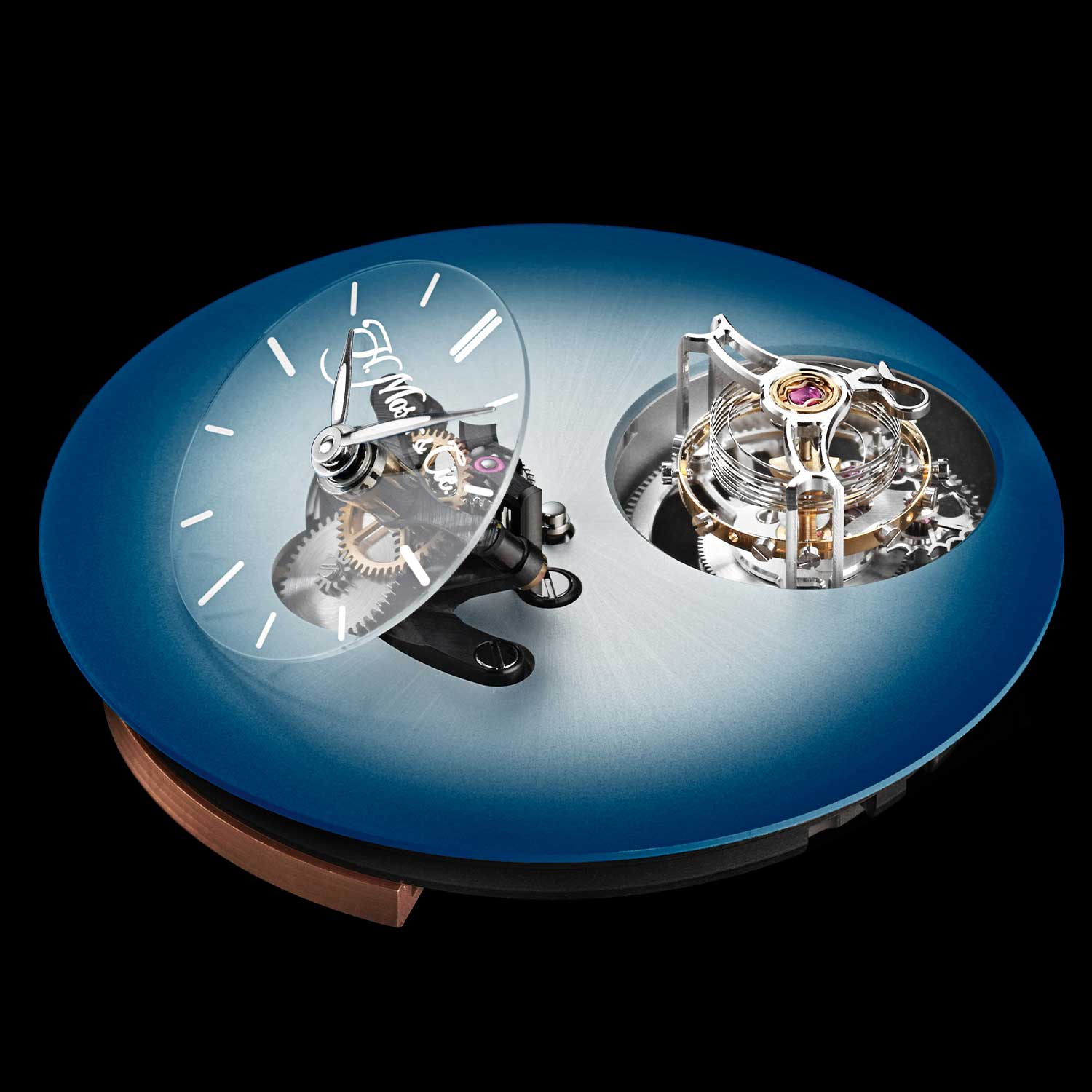 Bare dial of the MB&F × H. Moser Endeavour Cylindrical Tourbillon with the Funky Blue dial