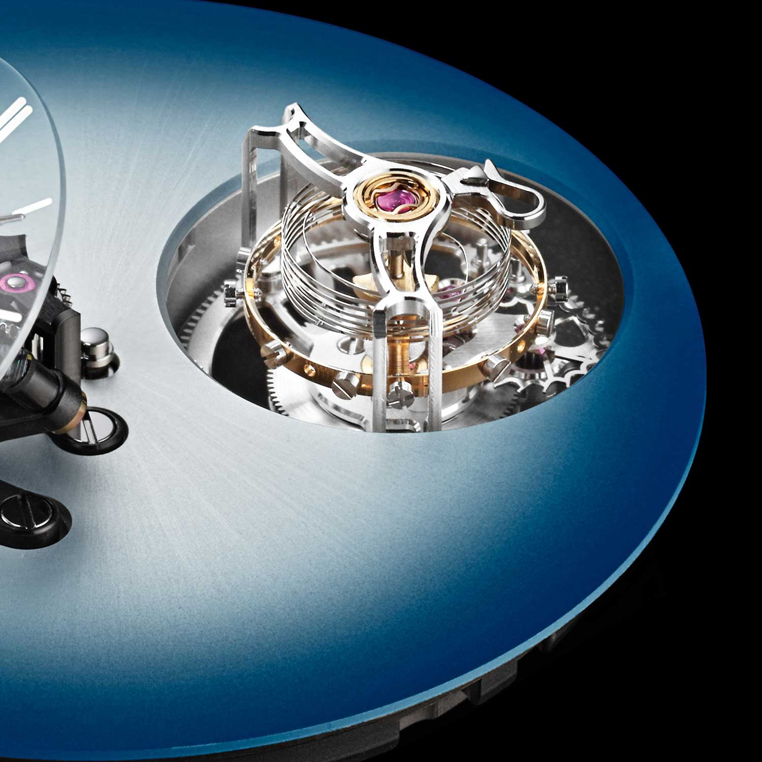 A closer look at the cylindrical tourbillon of the MB&F × H. Moser Endeavour Cylindrical Tourbillon with the Funky Blue dial
