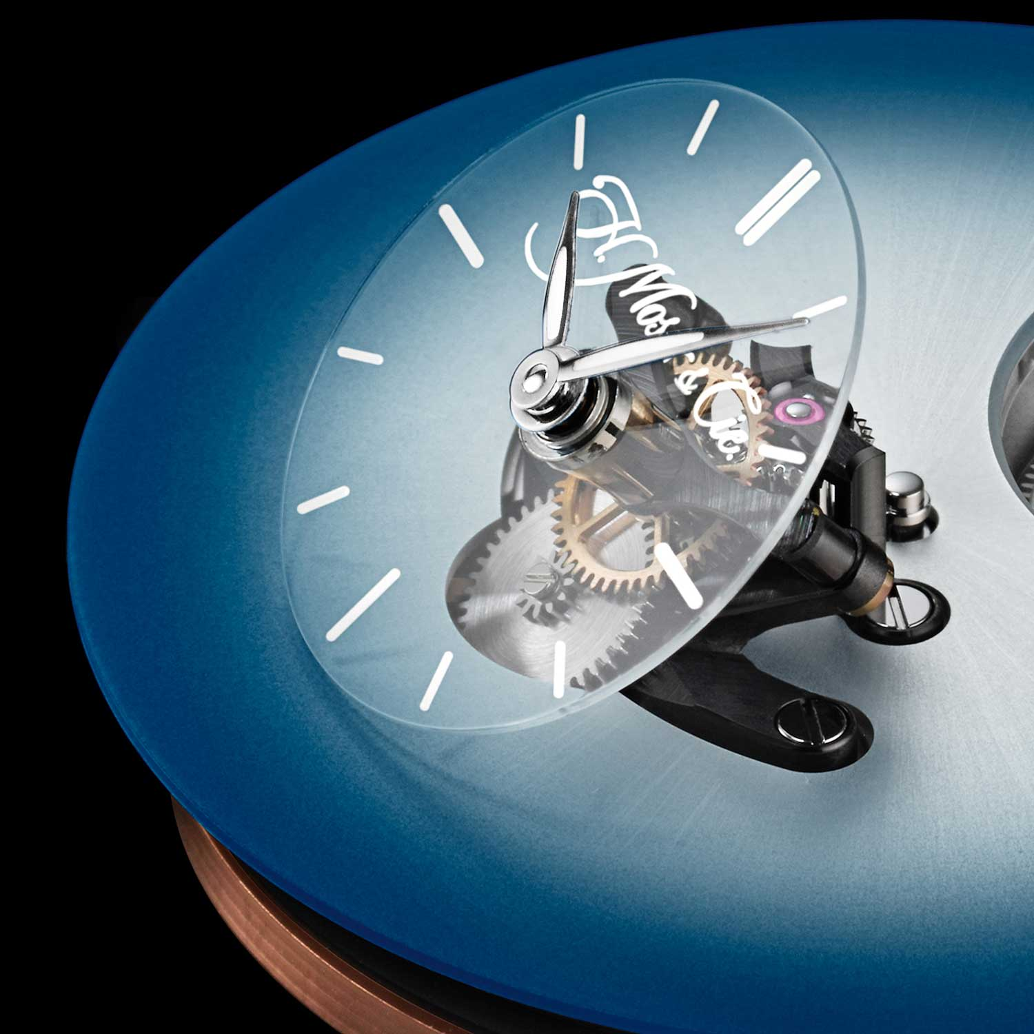 Angled sapphire subdial on the MB&F × H. Moser Endeavour Cylindrical Tourbillon with the Funky Blue dial
